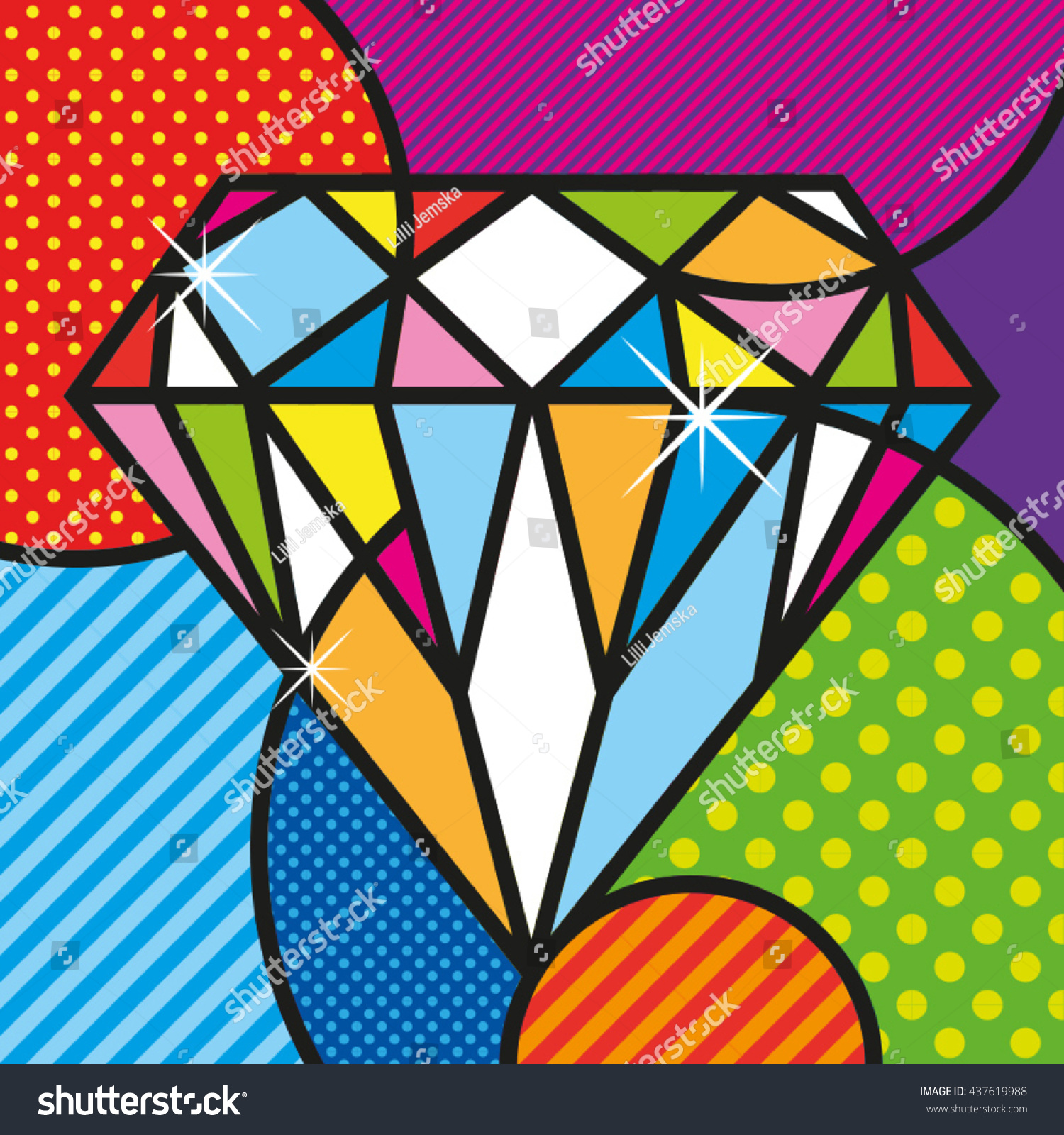 Art Design Bilder Pop Art Diamond Brilliant Luxury Jewelry Stock Vector