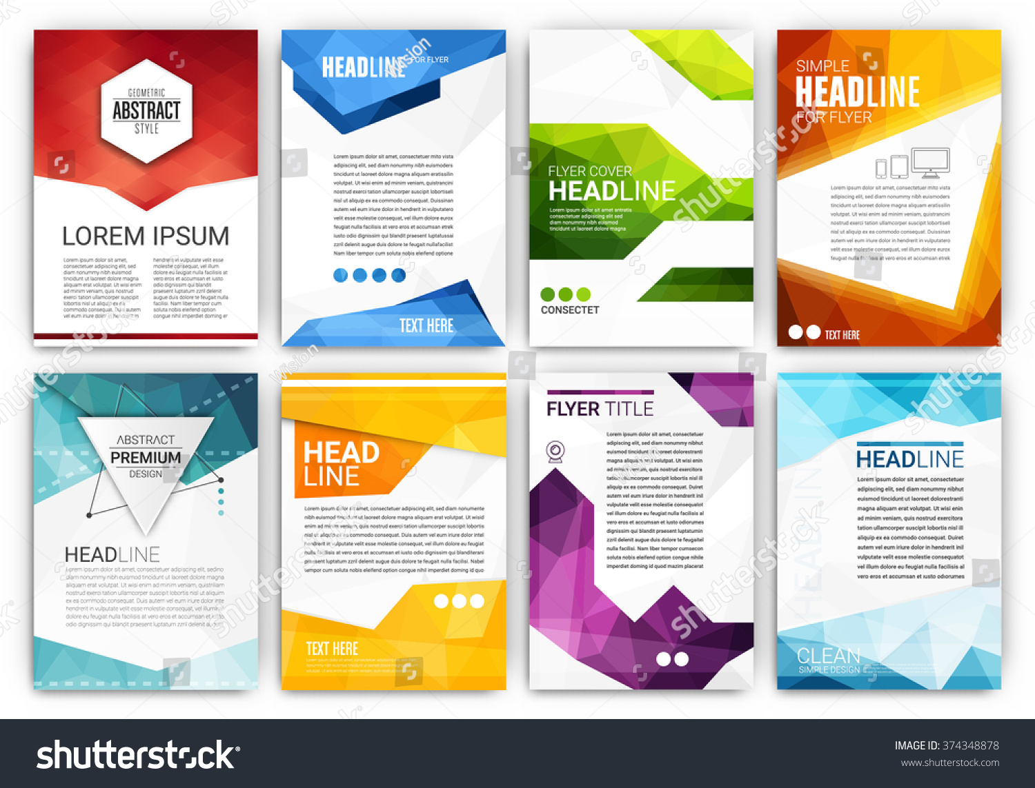 Poster design template set abstract modern polygonal flyer collection