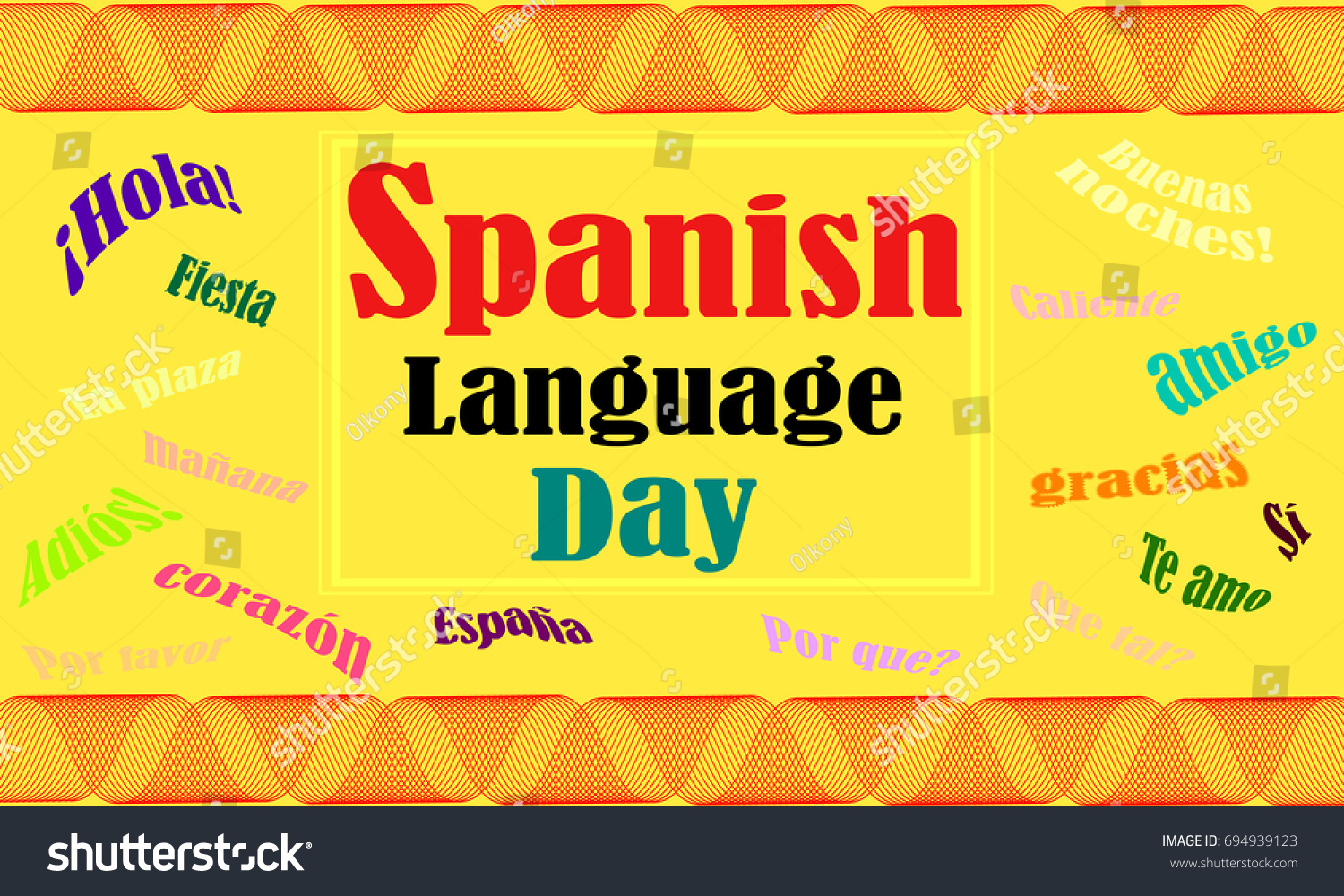 Poster In Spanish Poster Spanish Language Day Stock Vector Royalty Free 694939123
