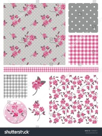 Pretty Shabby Chic Floral Vector Seamless Patterns And ...