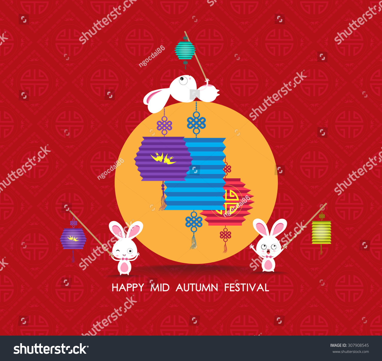 Happy Chinese Lantern Festival Printflat Chinese Lantern Rabbit Happy Mid Stock Vector