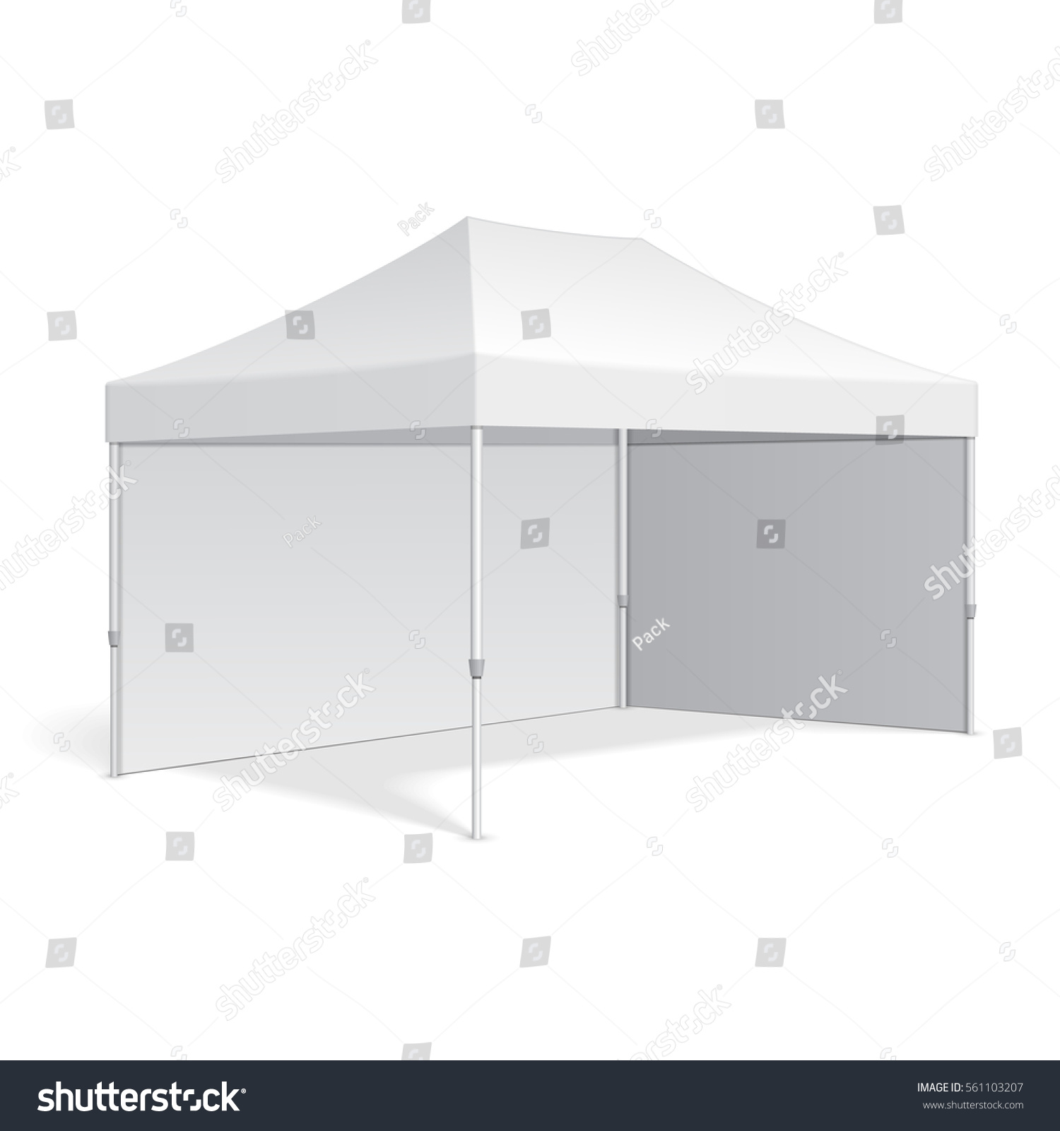 White Umbrella Marquees Promotional Advertising Outdoor Event Trade Show Stock Vector