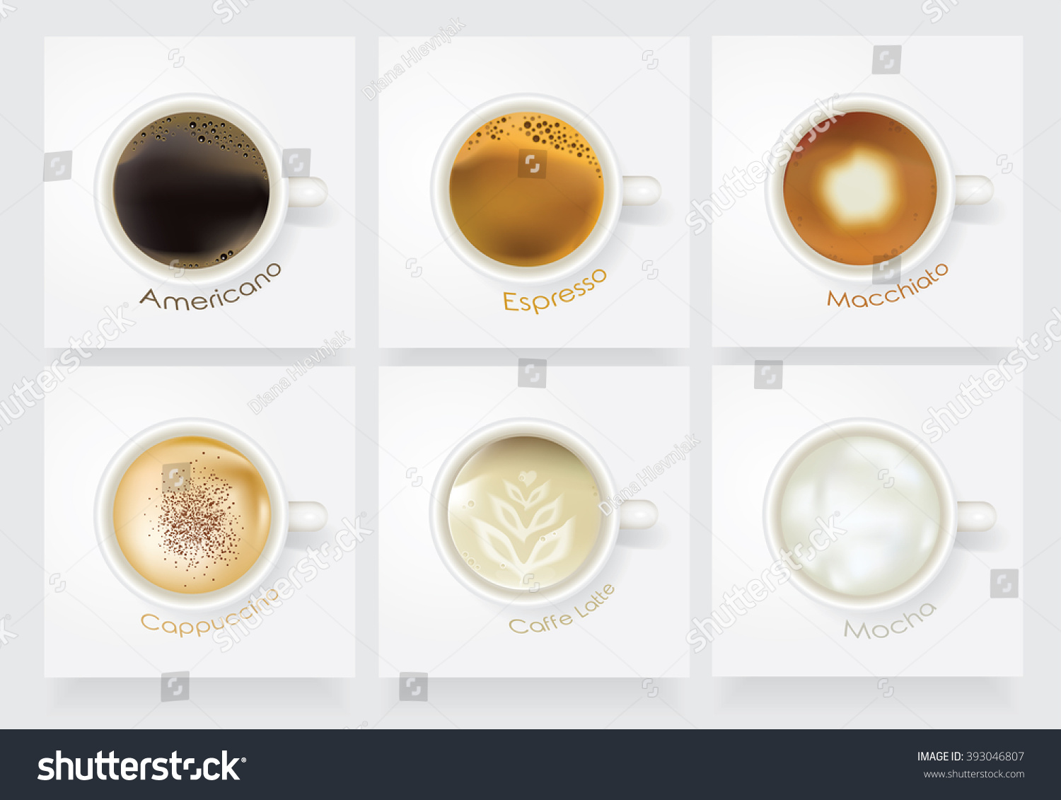 Americano Coffee English Realistic Coffee Vector Icon Set Caffe Americano