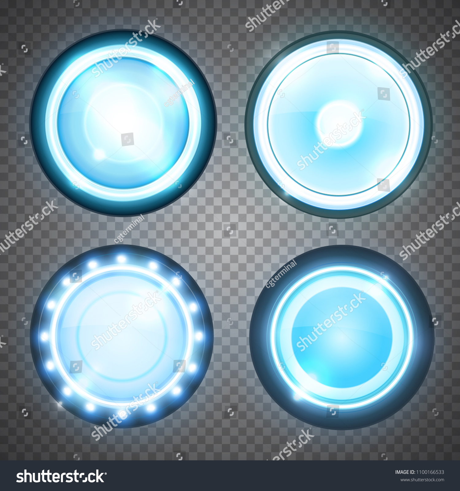 Glass Lamp Vector Realistic Round Glass Lamp Car Headlight Stock Vector