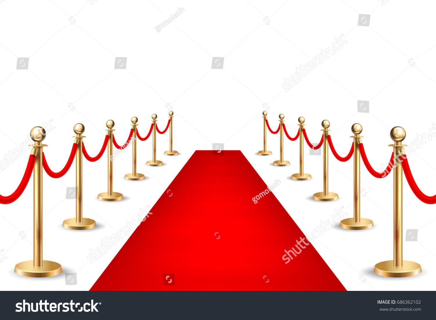 Schranke Clipart Realistic Vector Red Event Carpet Silver Stock Vektorgrafik
