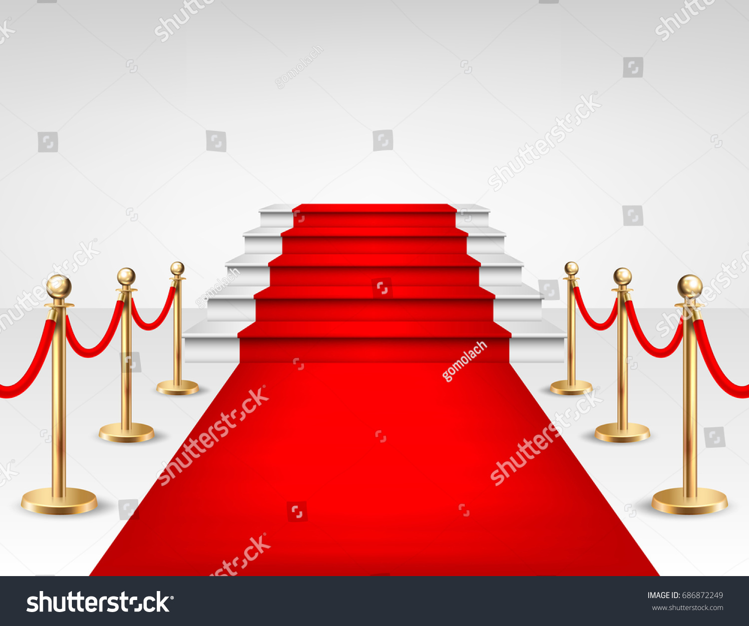 Schranke Clipart Realistic Vector Red Event Carpet Gold Stock Vektorgrafik