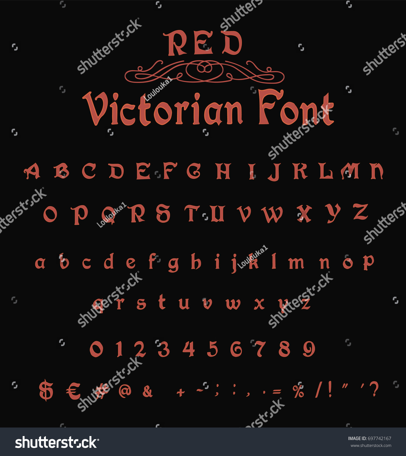 Calligraphy Fonts Victorian Red Victorian Font Gothic Font Old Stock Vector Royalty Free