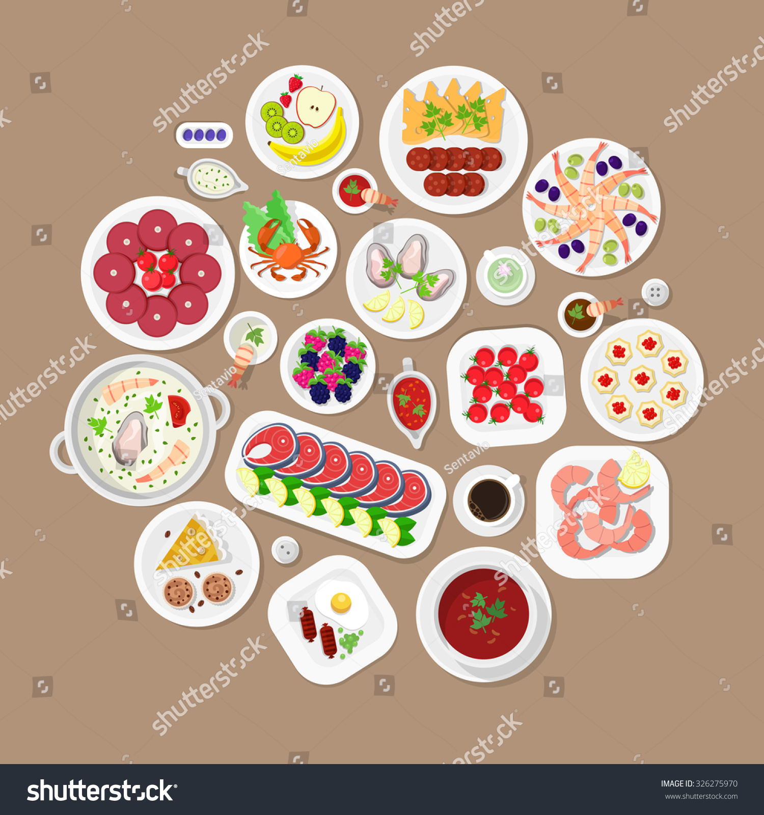 Restaurant flat style design vector graphic top view elements set lobster fish steak shrimps oysters