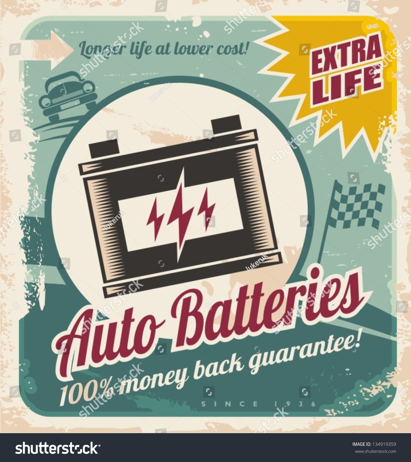 Retro auto batteries poster design vintage background for car service or parts shop