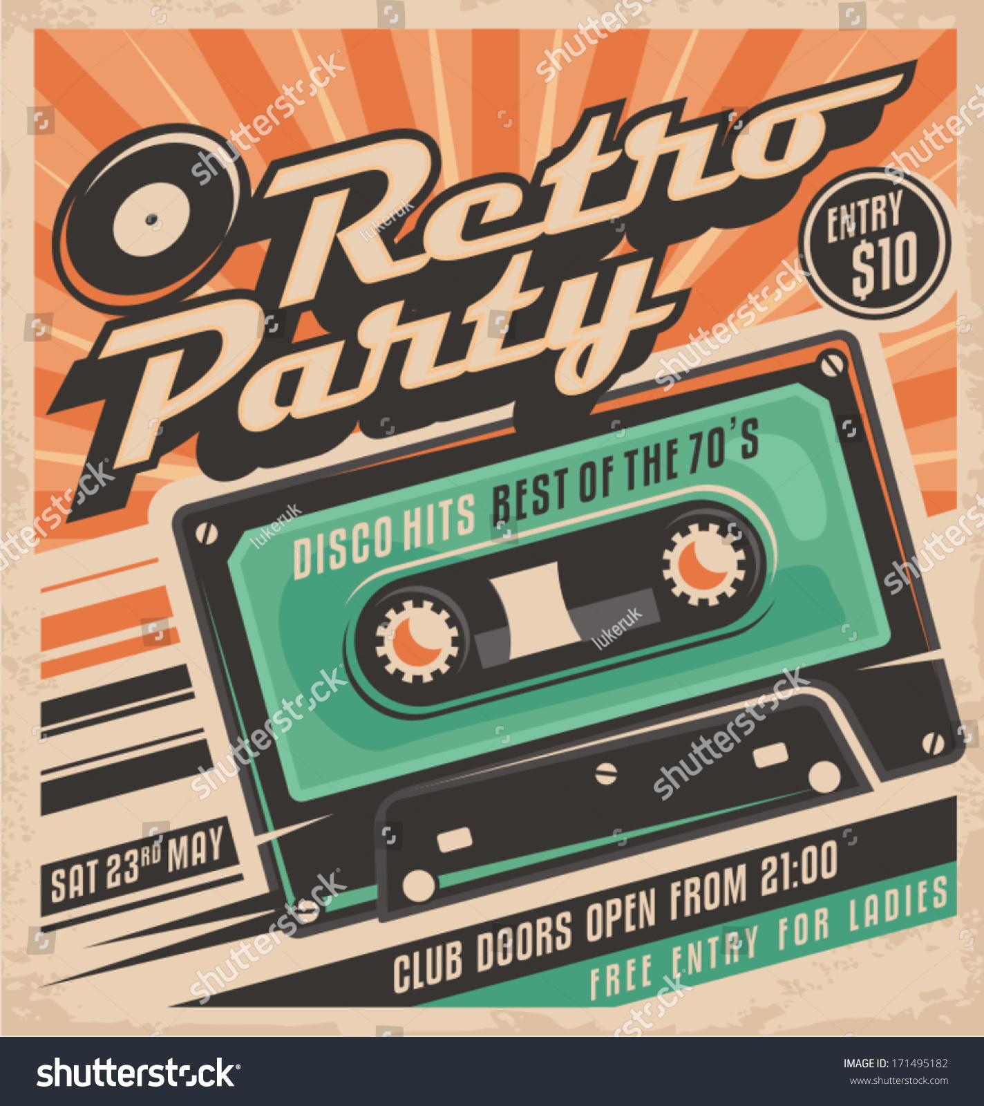 Retro party poster design disco music event at night club vintage invitation template