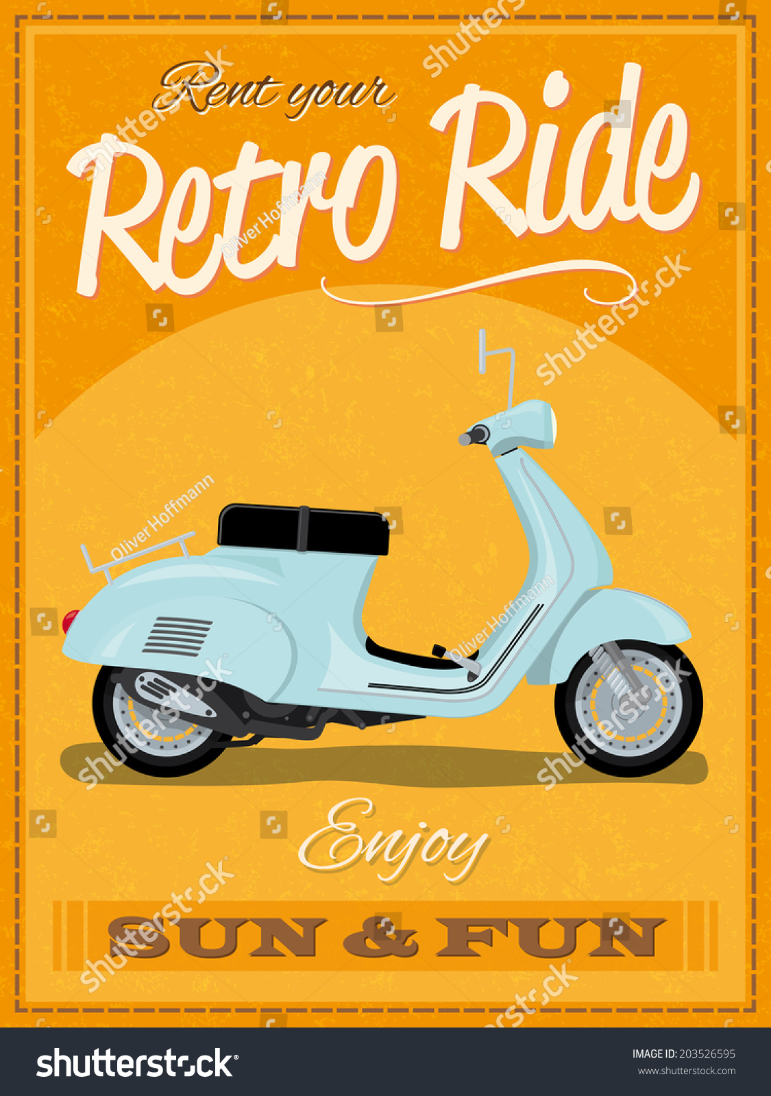 Retro poster design with vintage scooter illustration sample text banner and grunge texture