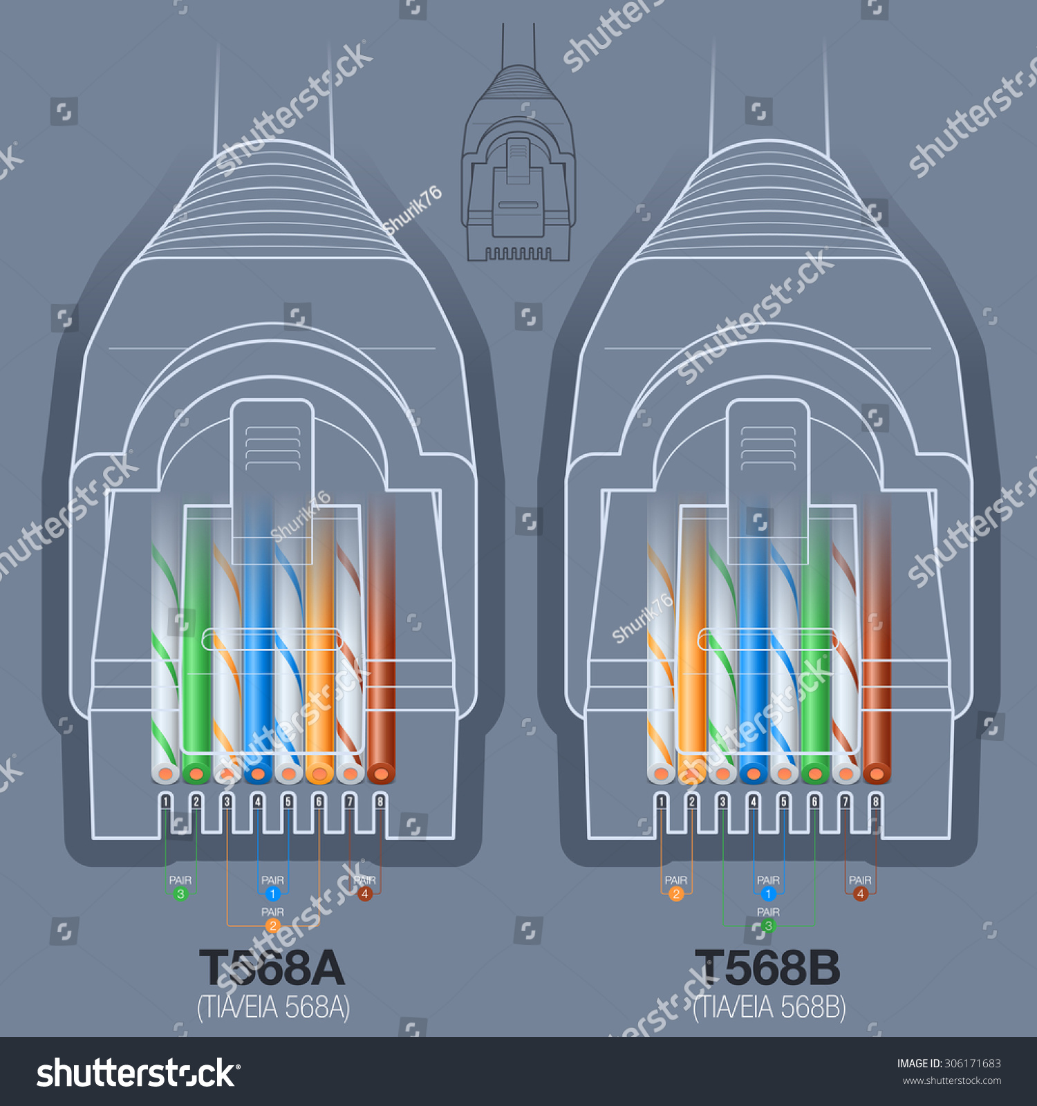 For The Cat5 Cable Rj45 Jack Wiring Diagram Free Download Rj45 Network Connector T568at568b Wiring Diagram Stock