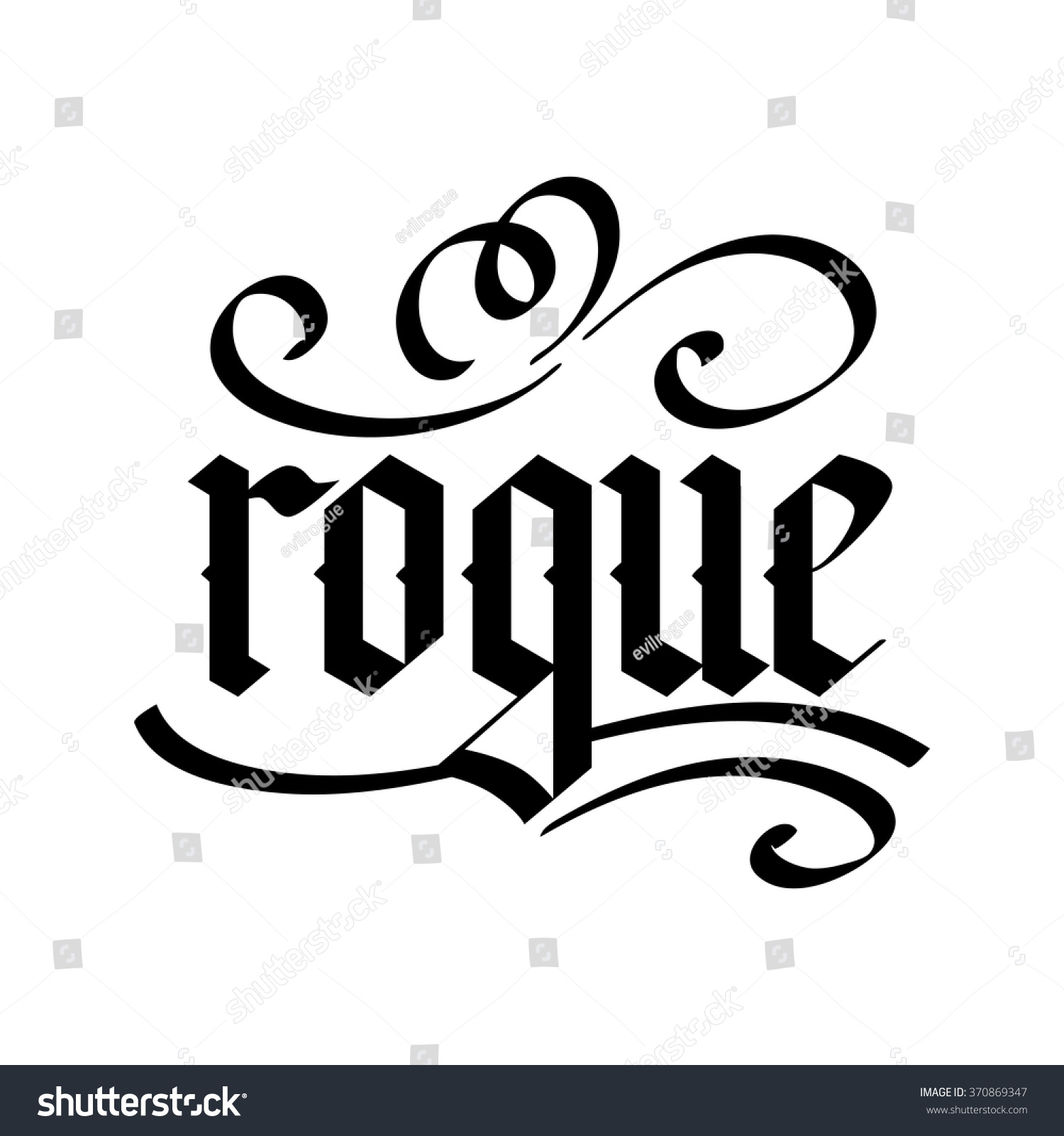 K Modern Calligraphy Rogue Modern Calligraphy Handwritten Ink Lettering Stock Vector