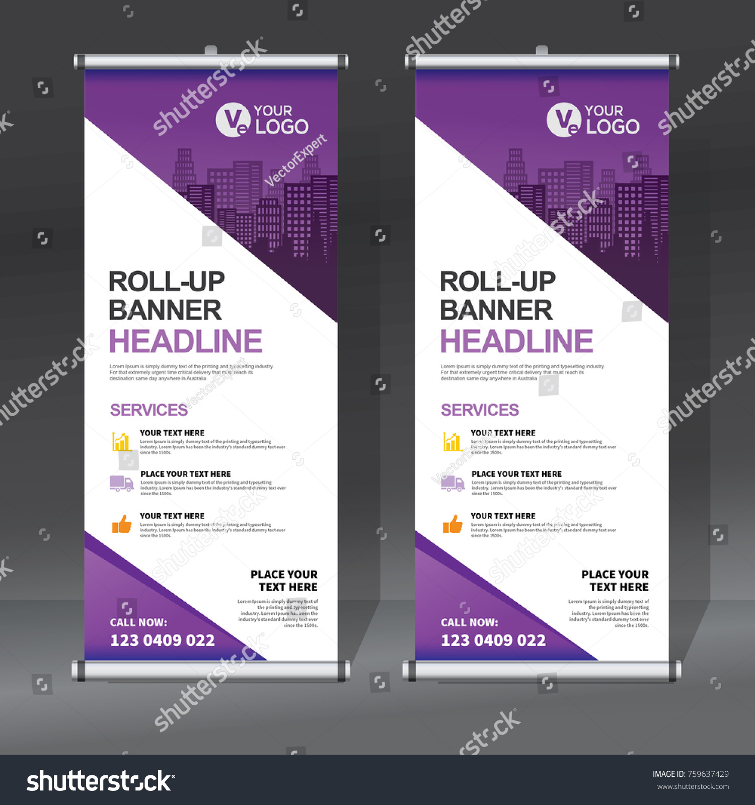 Contoh Desain Backdrop Roll Banner Design Template Abstract Background Stock Vector