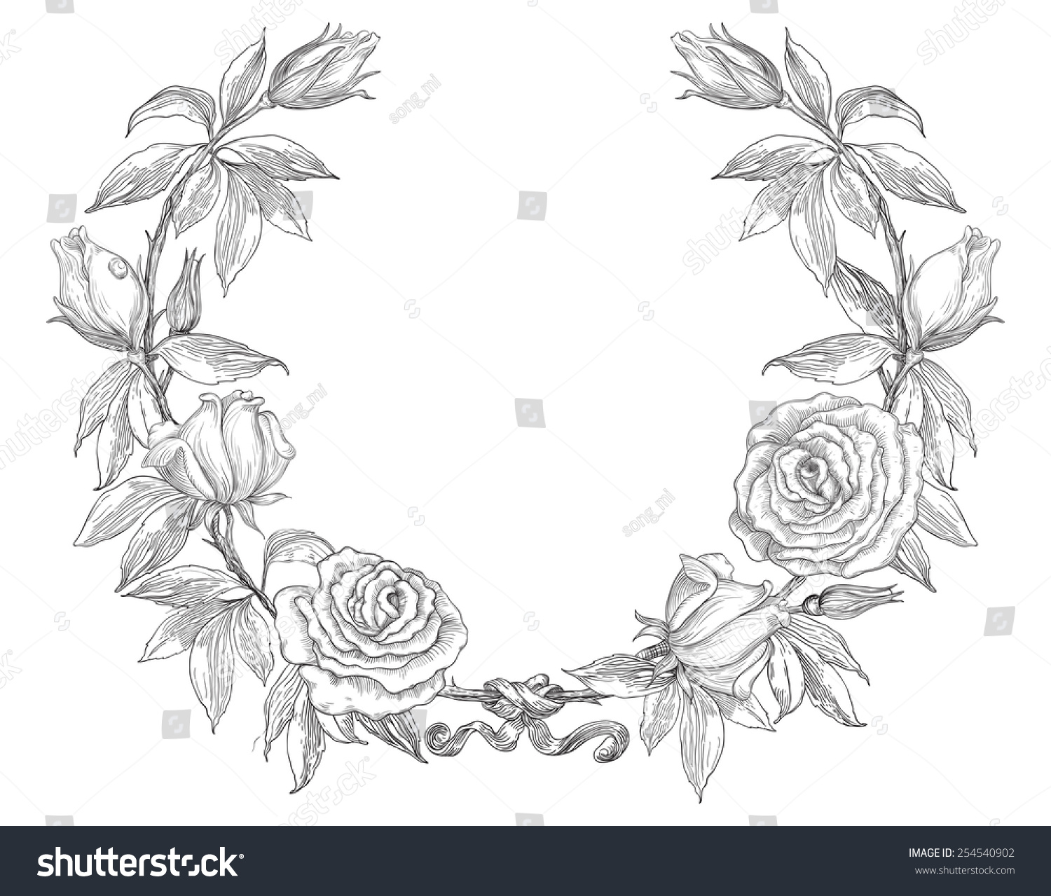 Black and white floral wreath stock vector image 65241515 -  Vector Image 65241515 Black And White Floral Wreath Stock Download