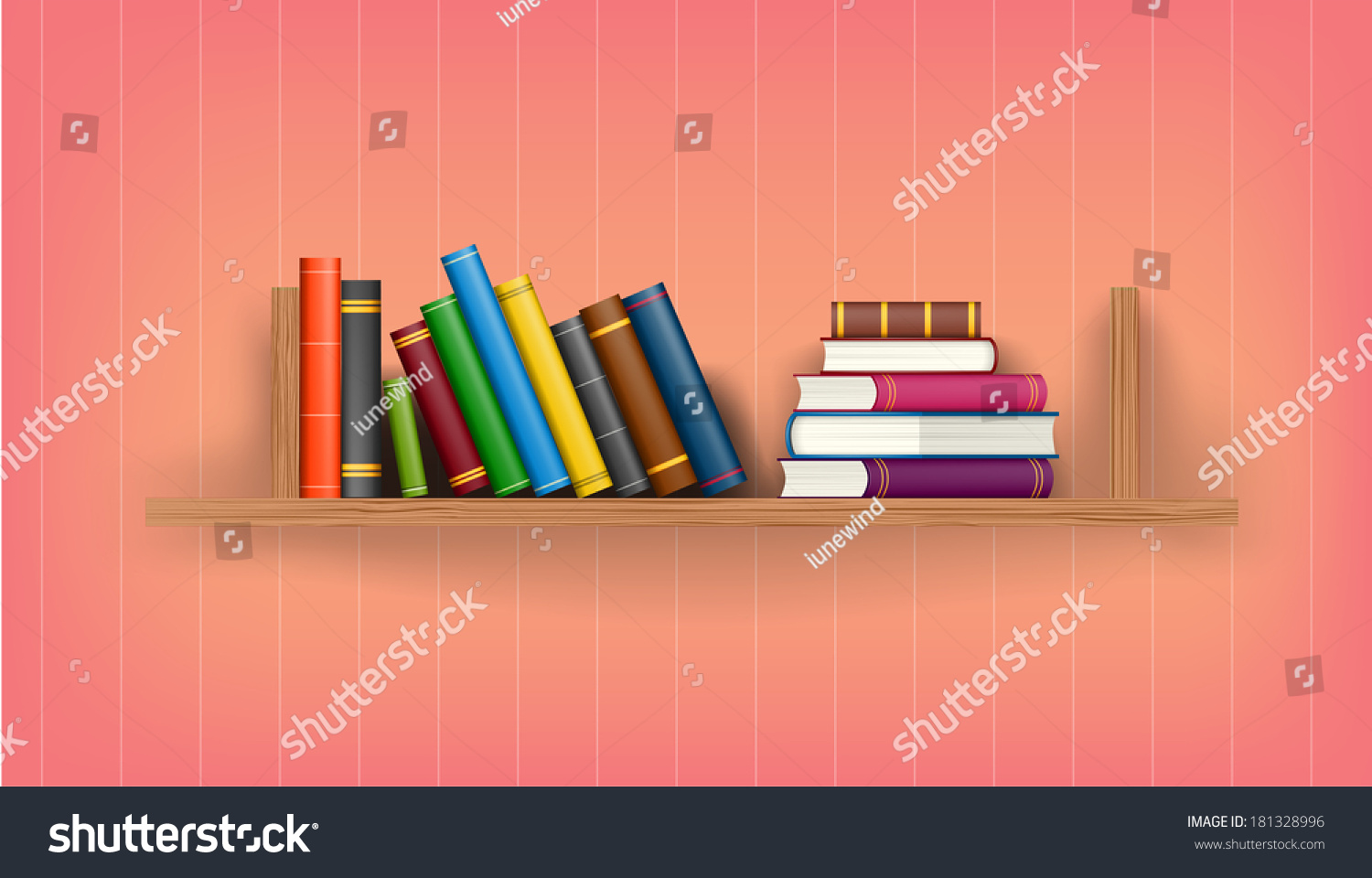 Row Of Books Vector Row And Stack Of Colorful Books On Shelf Vector