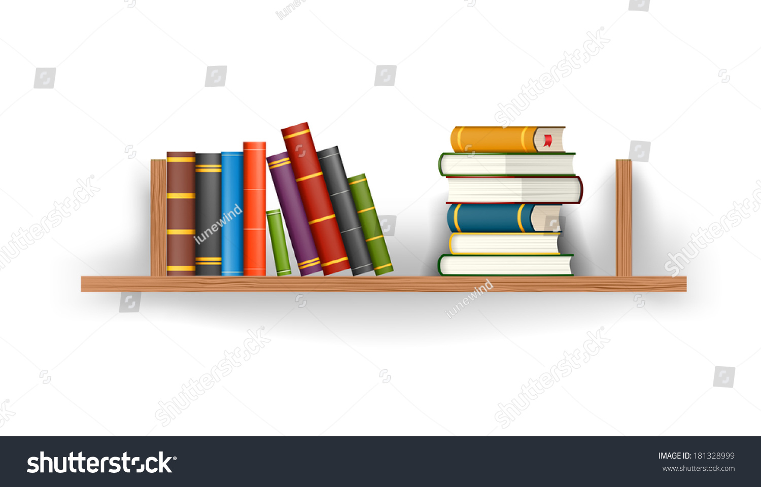 Row Of Books Vector Row Stack Colorful Books On Shelf Stock Vector 181328999