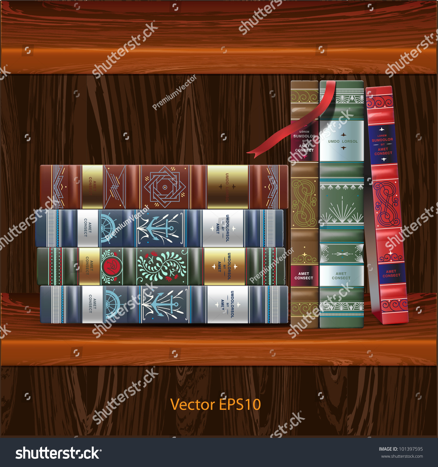 Row Of Books Vector Row Of Ornamented Vintage Books Isolated On Wood
