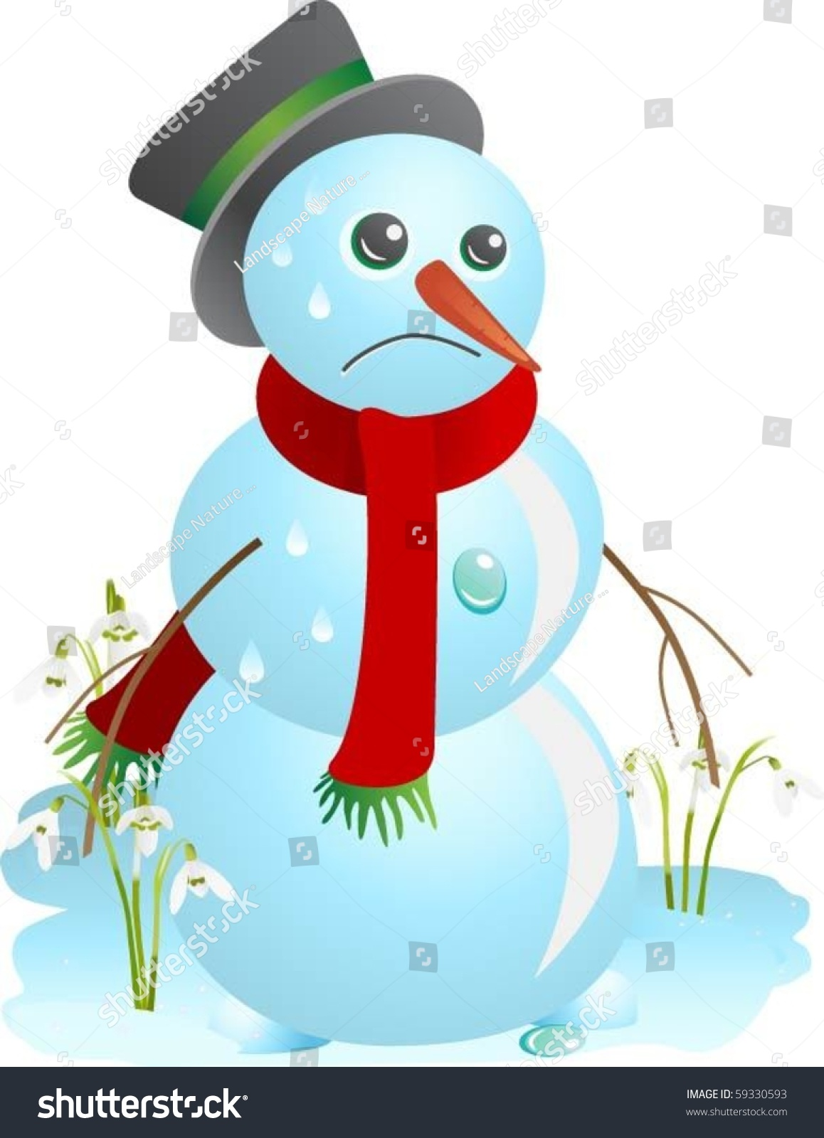 Sad Snowman Melting Spring Vector Illustration Stock Vector Royalty Free 59330593