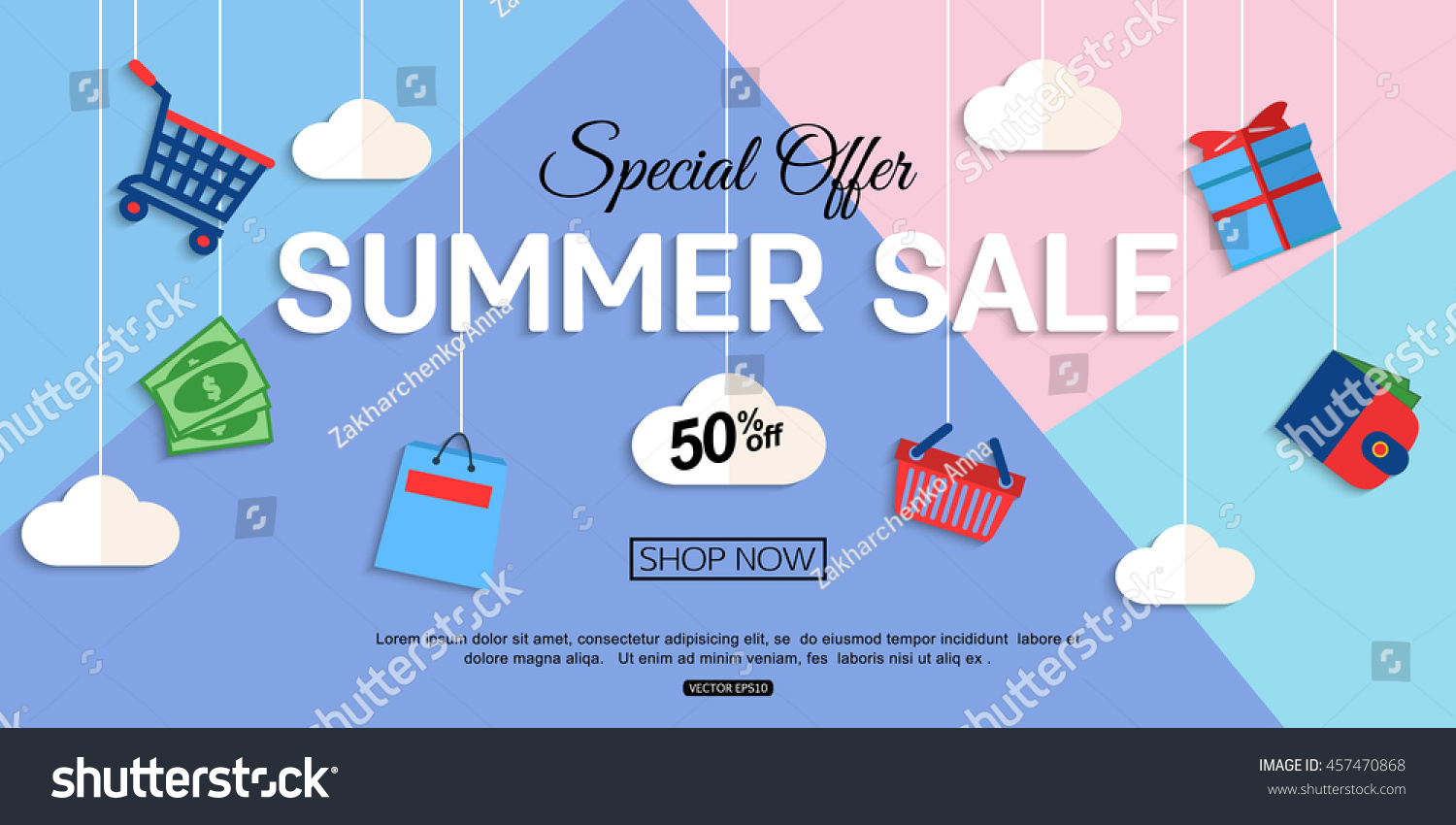 Store Banne Promotion Sale Discount Background Online Store Shop Stock Vector