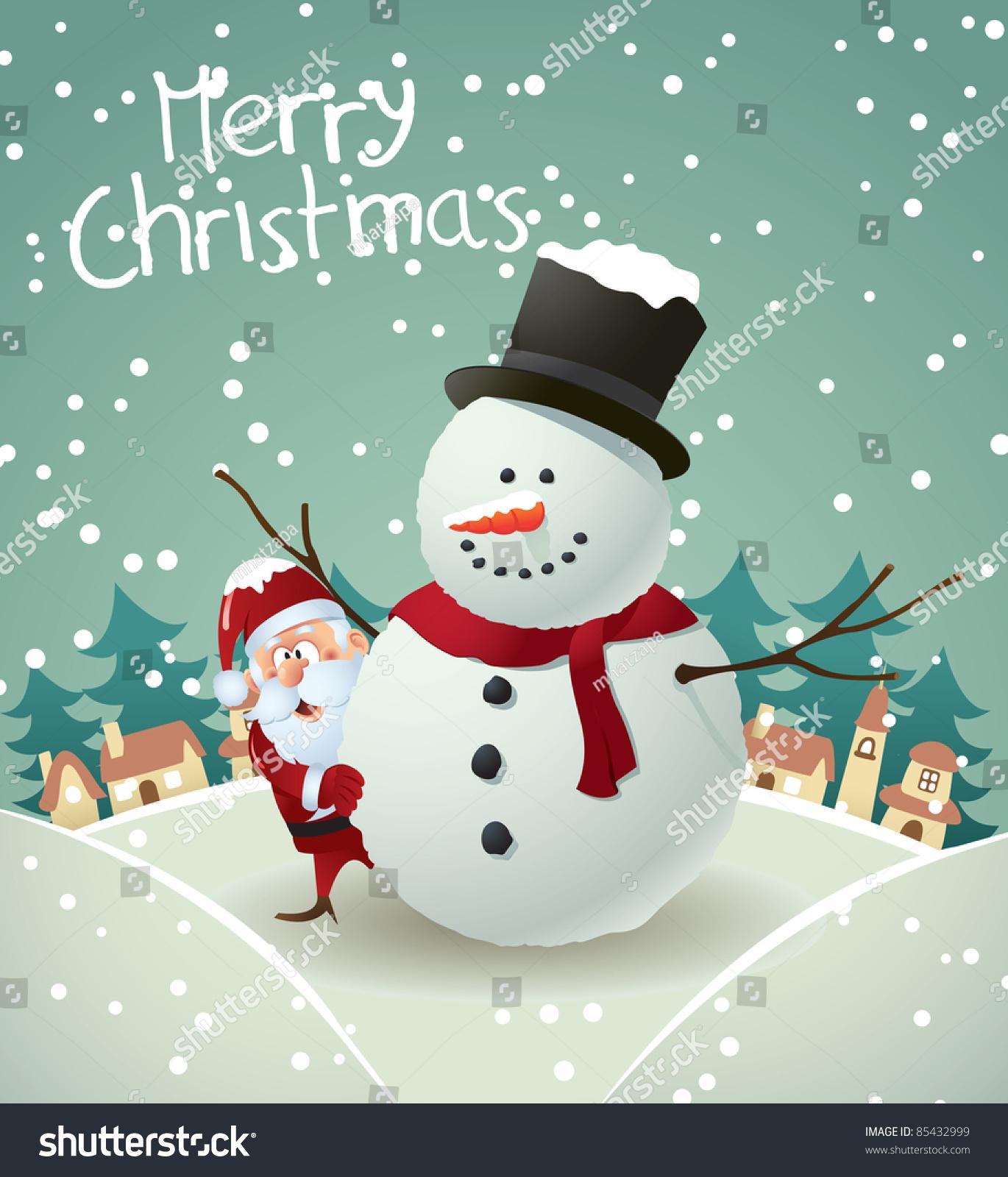 Cute Pink Snowman Wallpaper Santa Snowman Christmas Card Stock Vector 85432999