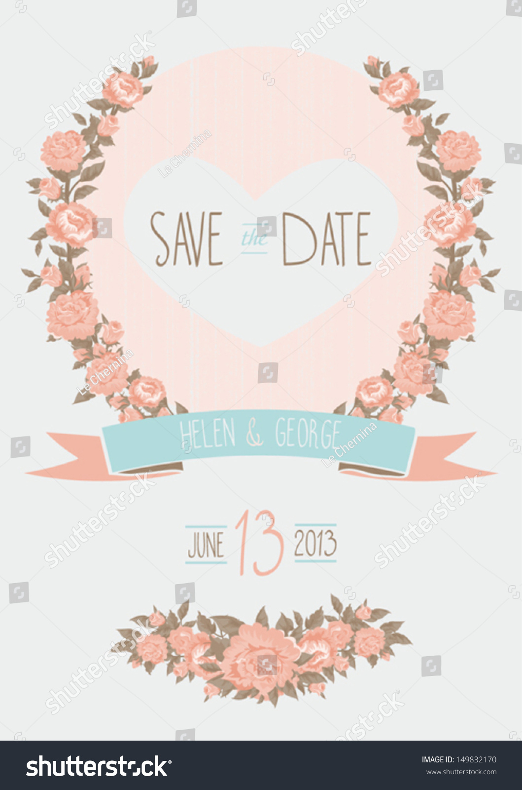 Cute Baby Sorry Hd Wallpaper Save Date Wedding Invitation Shabby Chic Stock Vector