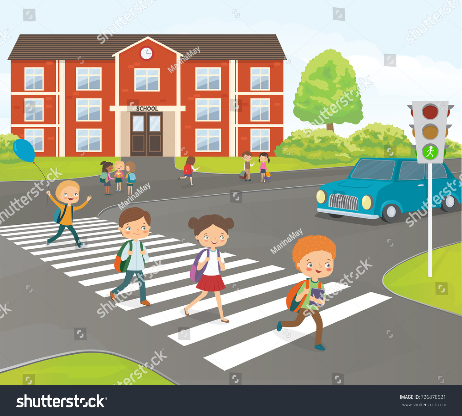 Road Crossing Clipart School Children Cross Road On Pedestrian Stock Vector