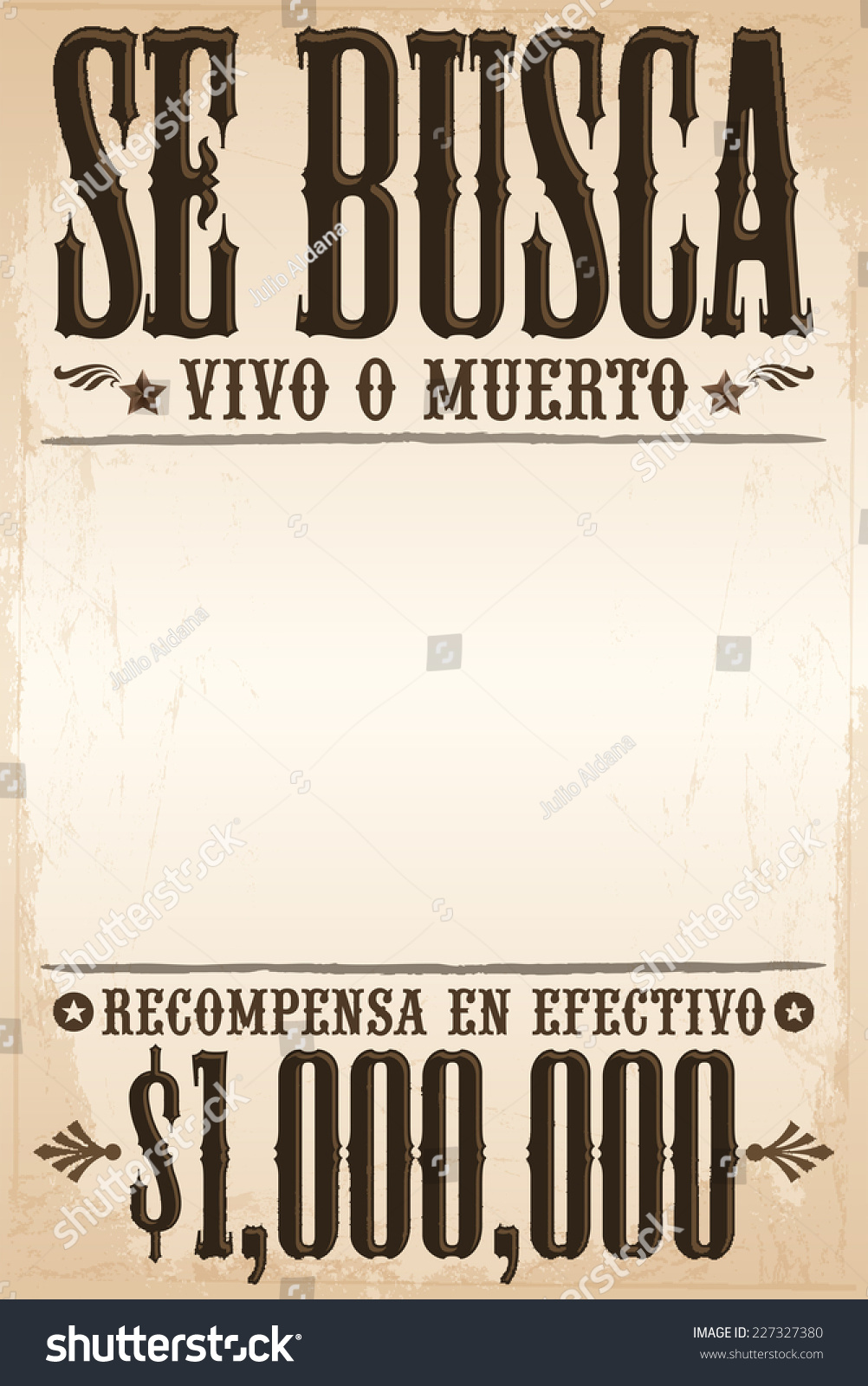 Poster In Spanish Se Busca Vivo O Muerto Wanted Stock Vector Royalty Free