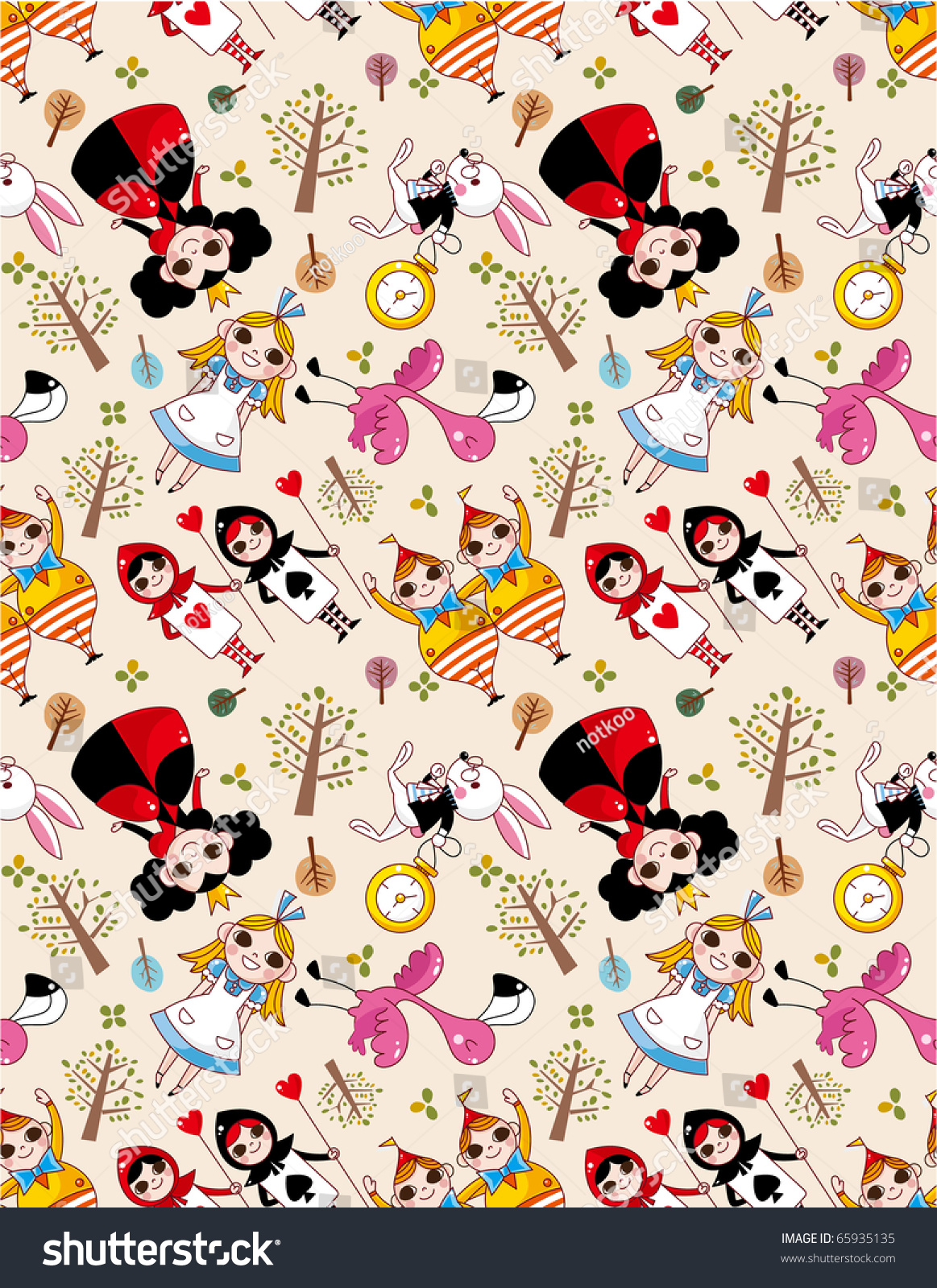 Cartoon Girl And Boy Wallpaper Seamless Alice Wonderland Pattern Stock Vector 65935135