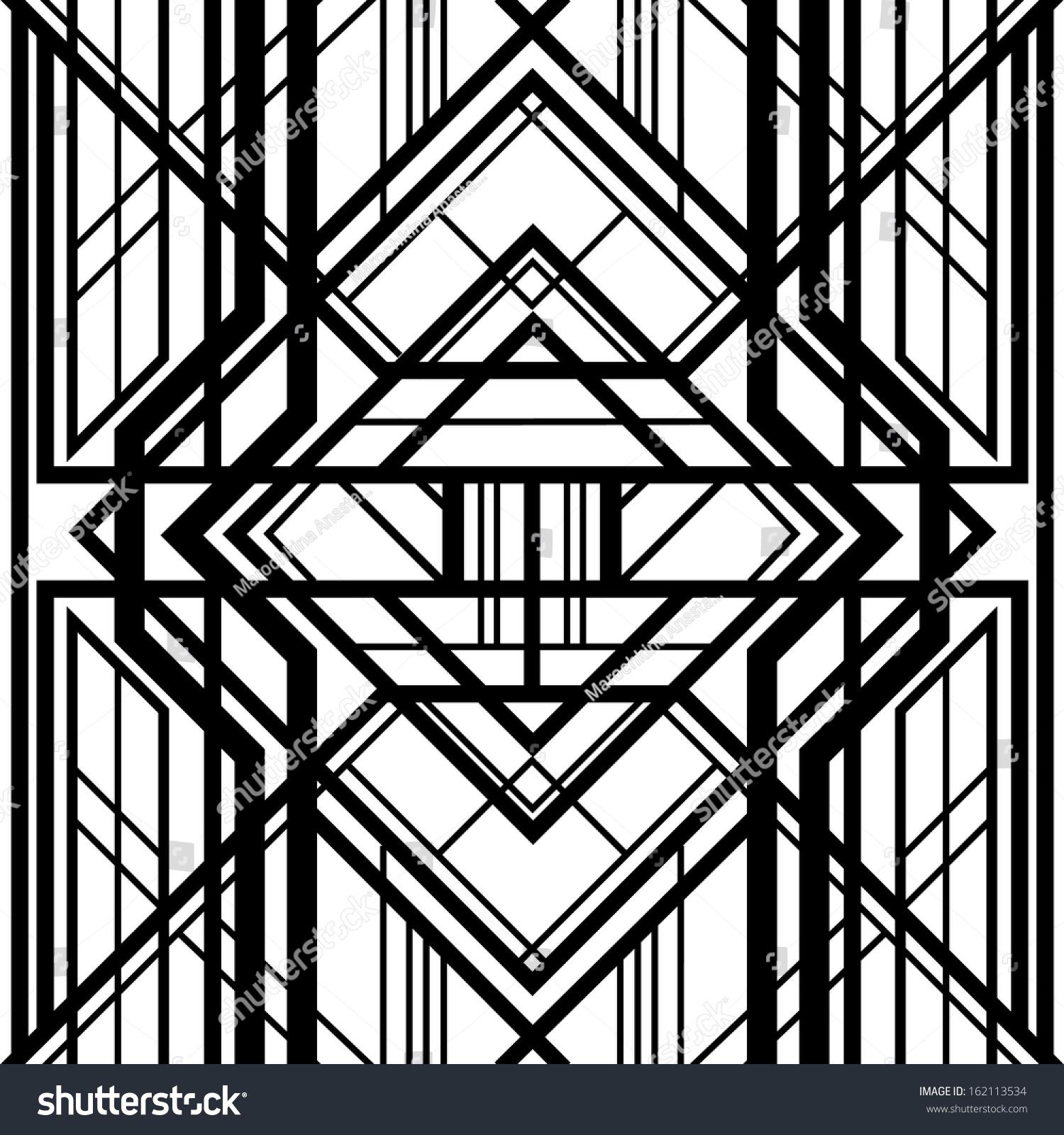 Seamless pattern abstract geometric background black stock