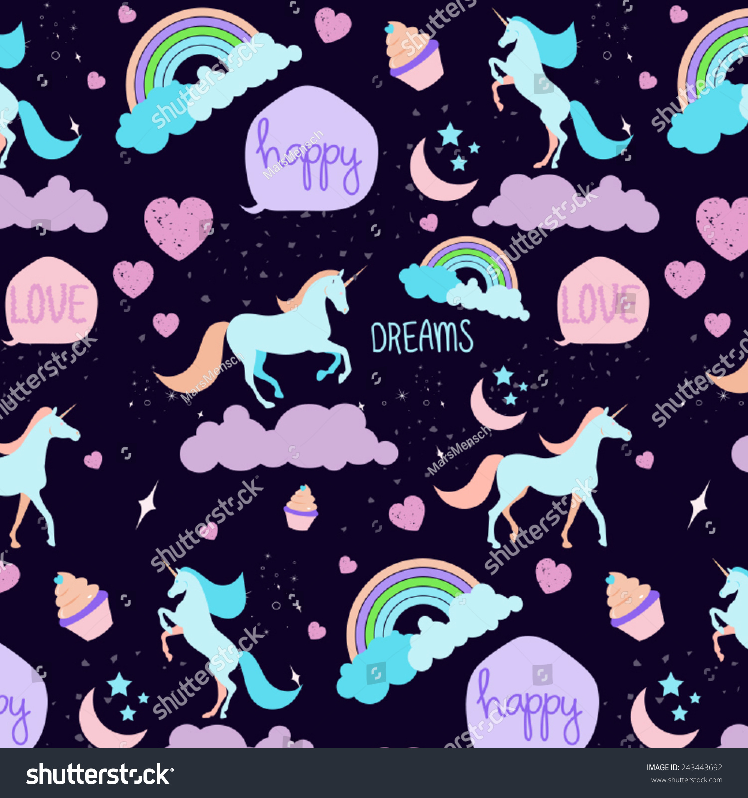 Cute Cartoon Horse Wallpaper Seamless Unicorn Pattern Stock Vector 243443692 Shutterstock