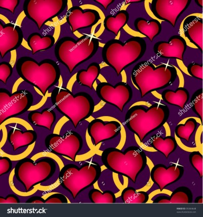 Seamless Vector Texture With Hearts. You Can Create The Wallpaper With This Pattern, Color Of ...