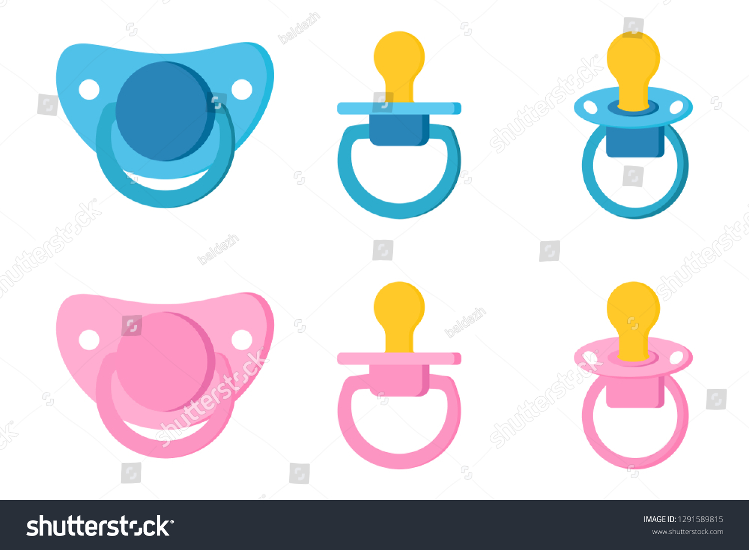 Newborn Babies For Dummies Set Icons Pacifier Baby Dummy Care Stock Vector Royalty