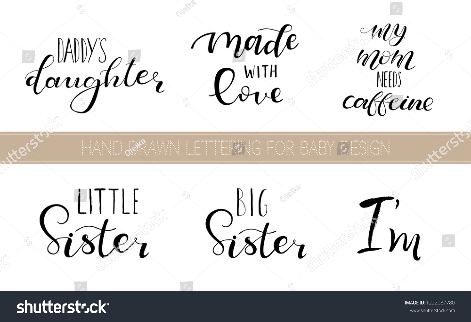 Clothes Quotes Set Lettering Quotes Design Babies Clothes Stock Vector Royalty