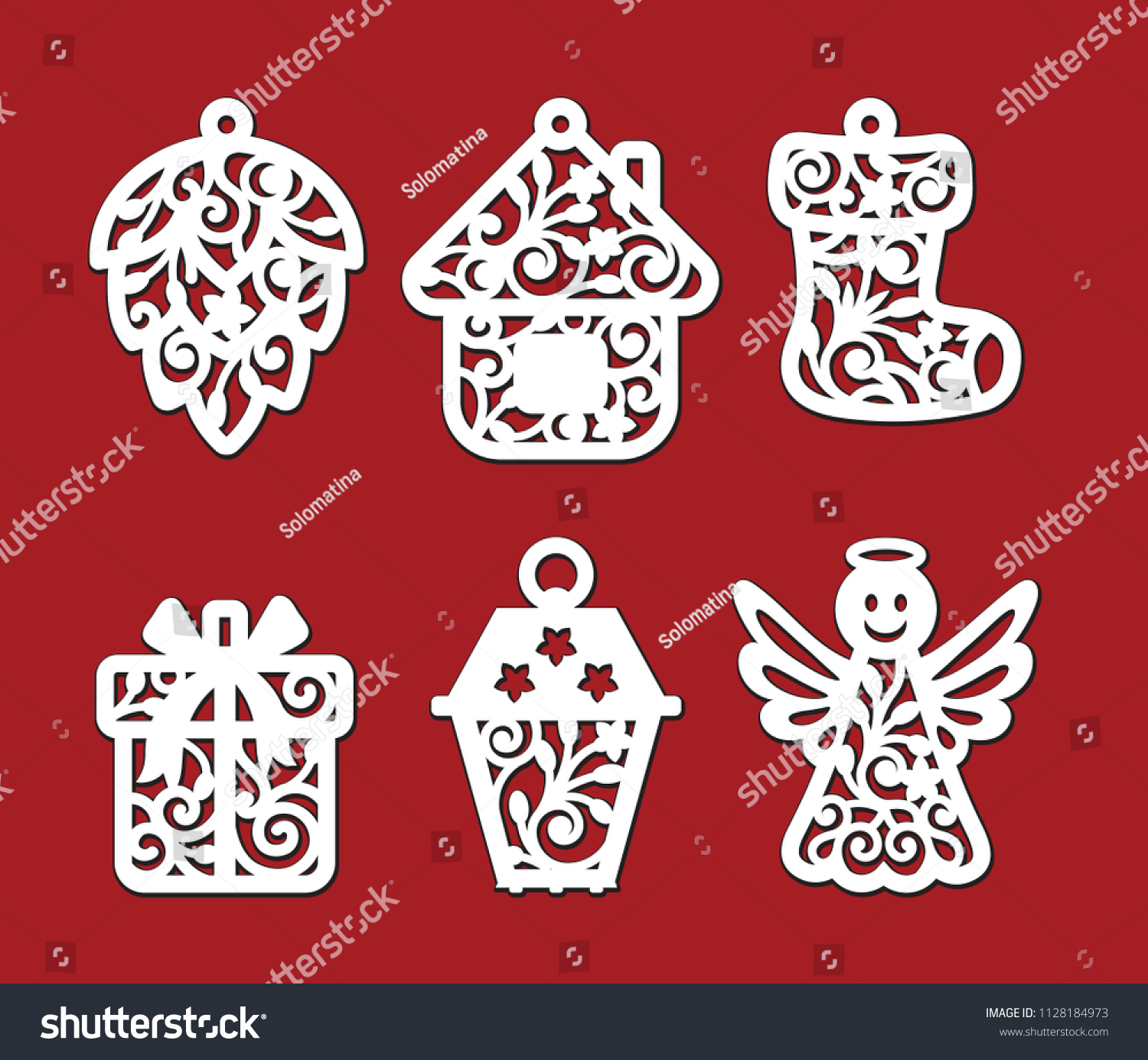 Kiefernzapfen Symbolik Set Christmas Decoration Fircone House Xmas Stock Vektorgrafik