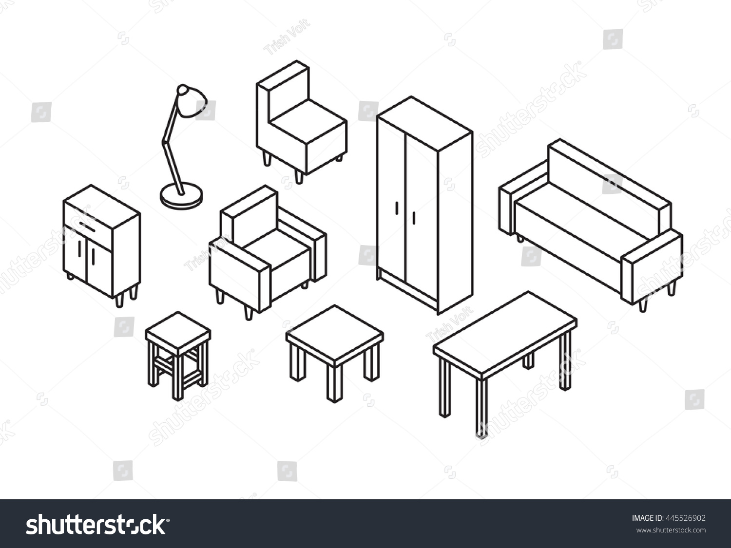 Sofa Set Vector Png Set 3 D Furniture Line Drawn Sofa Stock Vector Royalty Free