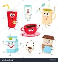 Set Funny Milk Coffee Tea Cup Stock Vector 519561469 ...