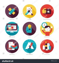 Set Modern Flat Design Icons On Stock Vector 175858358 ...