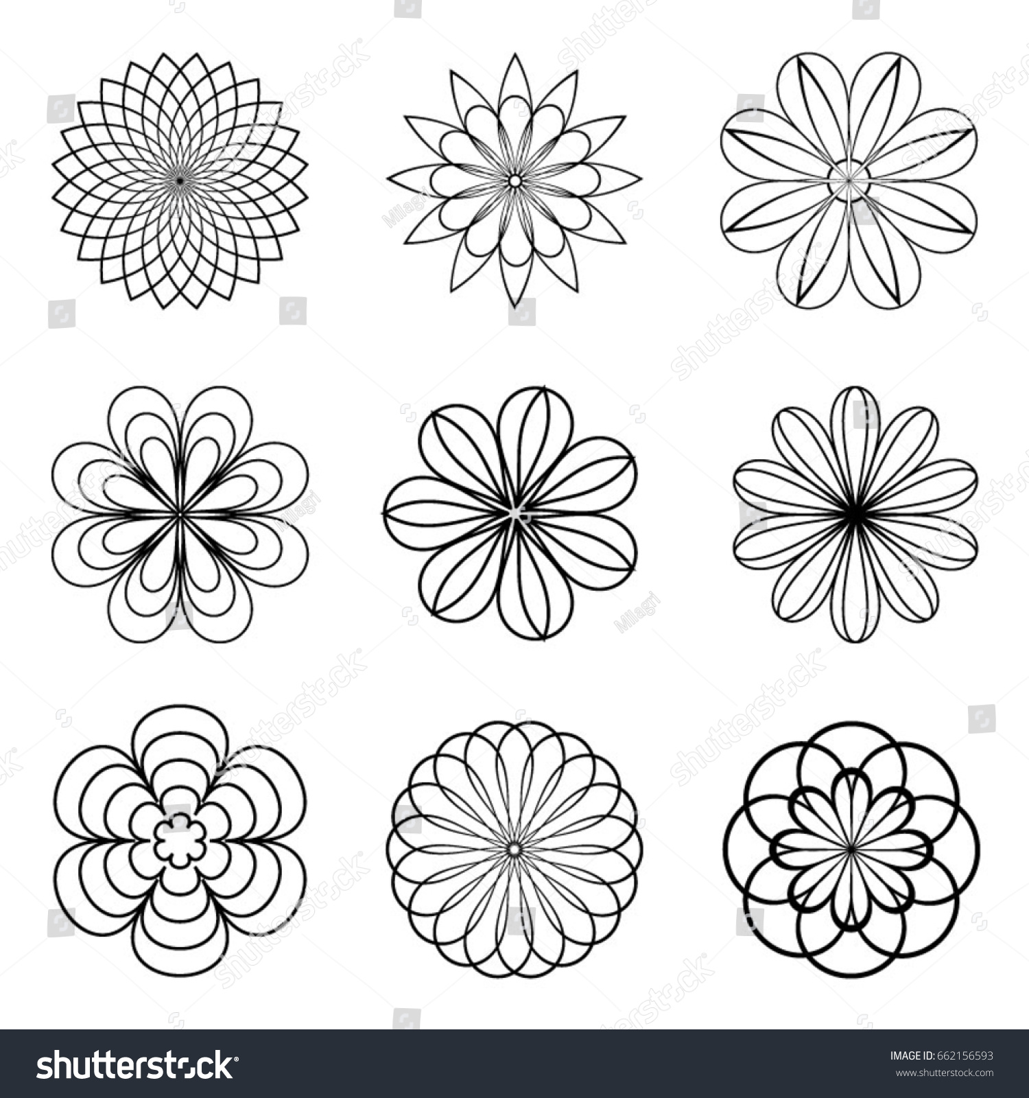 Set Monochrome Geometric Floral Patterns Stock Vector Royalty Free 662156593