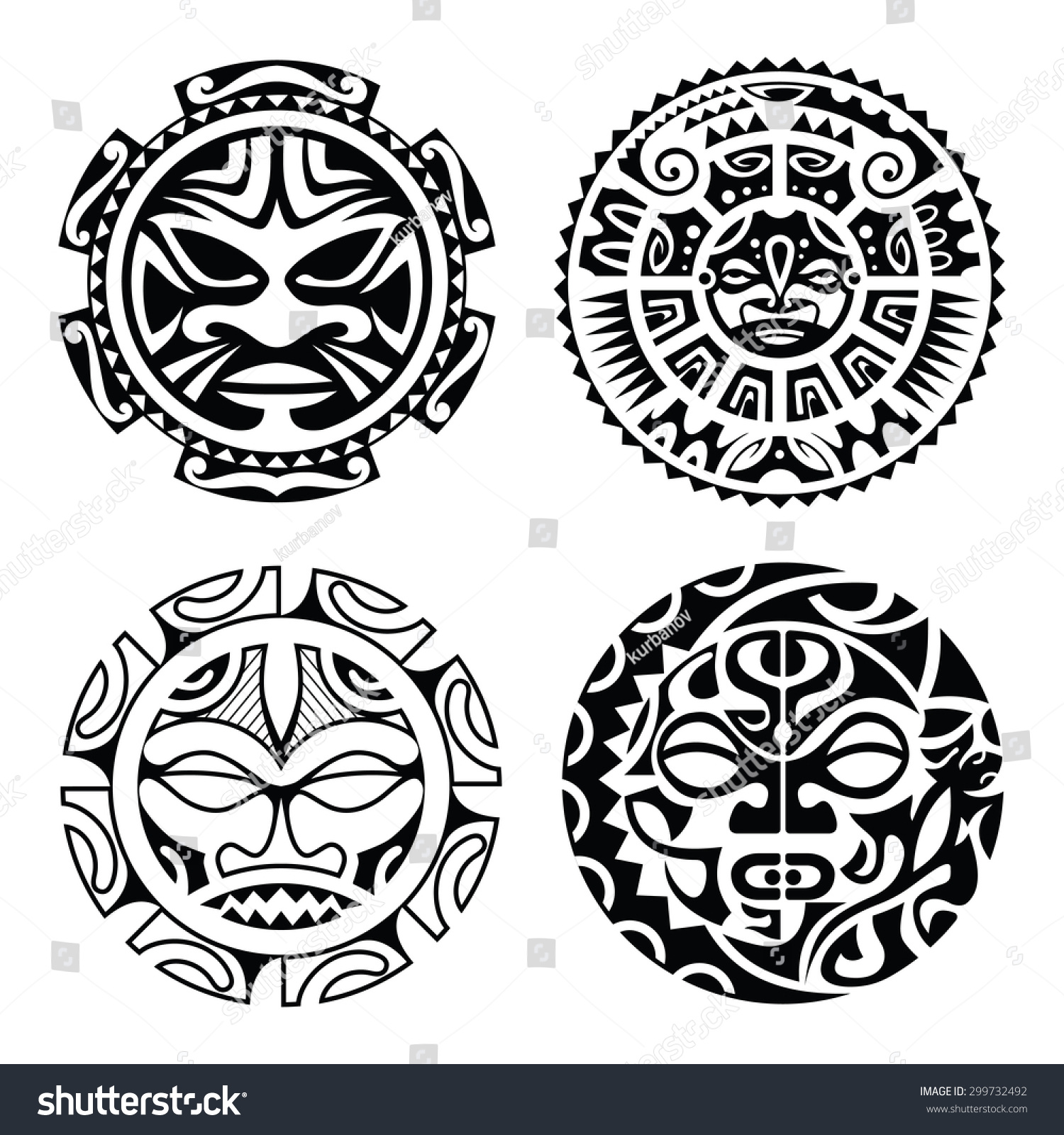 Symbol Sonne Bedeutung Set Polynesian Tattoo Styled Masks Vector Stock Vector