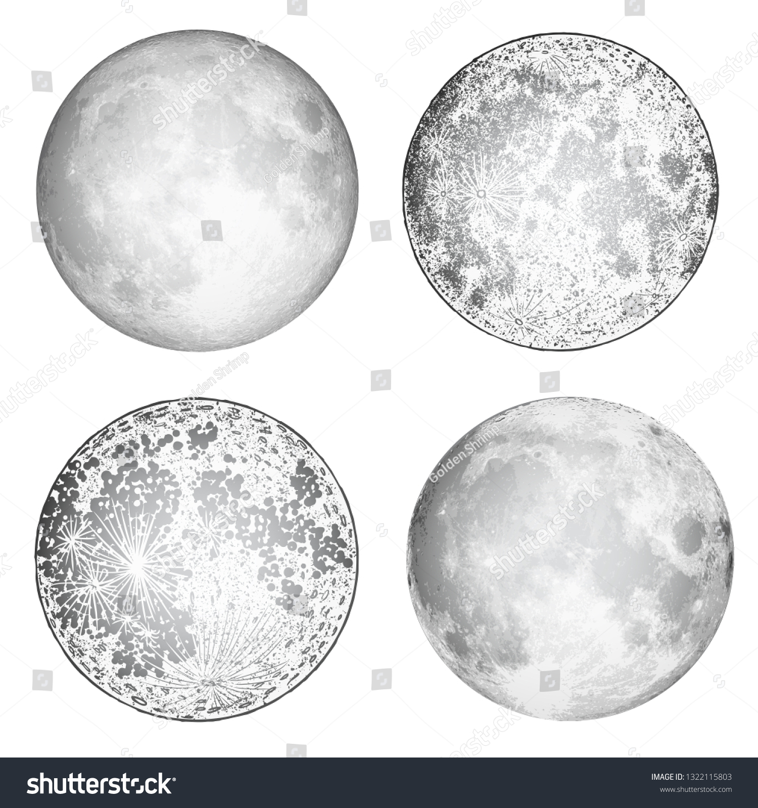 Full Moon Drawing Black And White Set Realistic Full Moon Moon Stipple Stock Vector Royalty Free