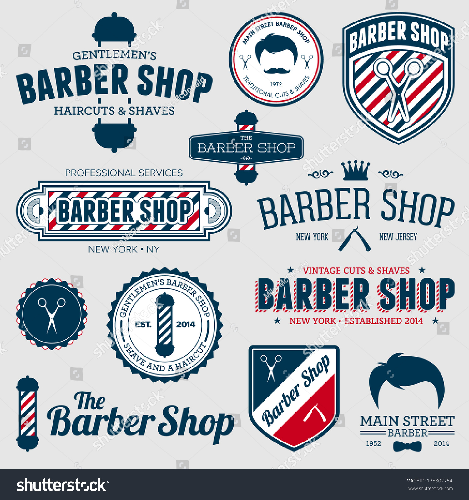 vectors illustrations footage music set of vintage barber shop logo graphics and icons