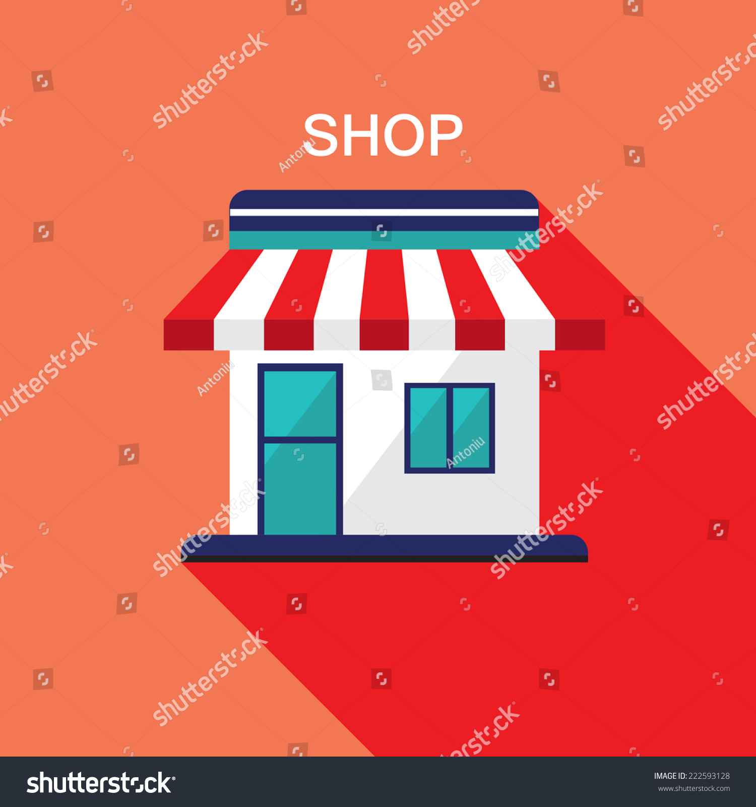 Design Online Shop Shop Front Modern Flat Design Facade Stock Vector Royalty Free