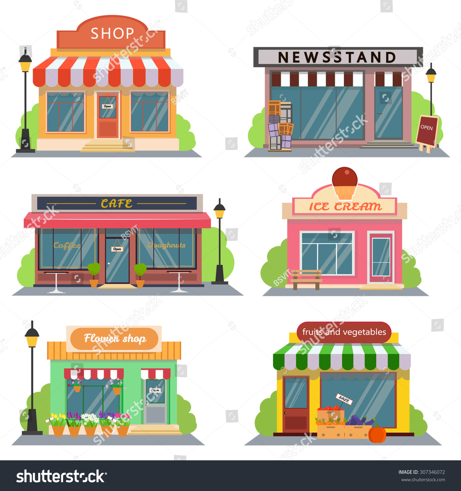 Arte Cafe Pizza Shops Stores Icons Set Flat Design Stock Vector 307346072