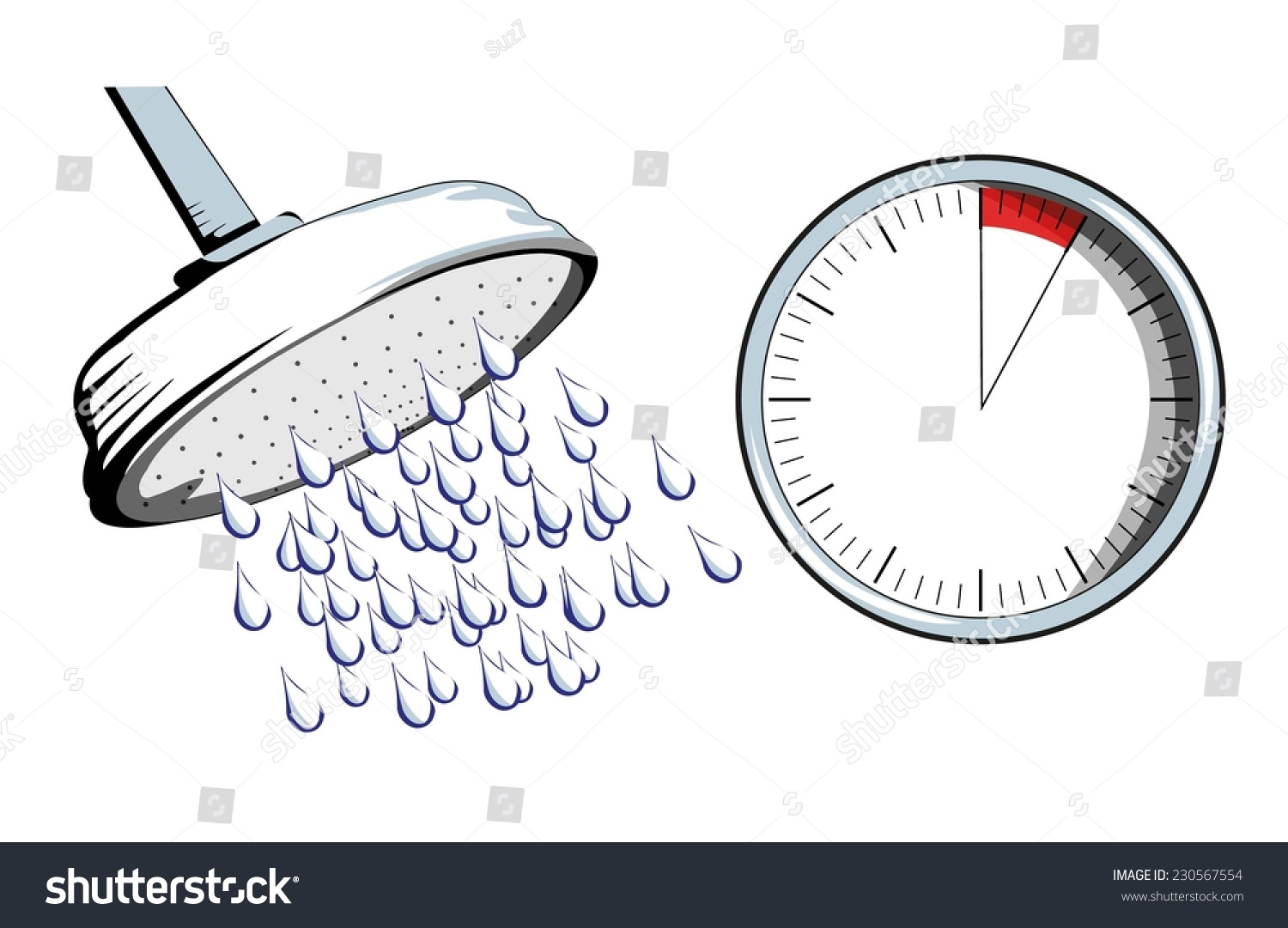 Duschkopf Clipart Shower Head With Timer Stock Vector Illustration 230567554