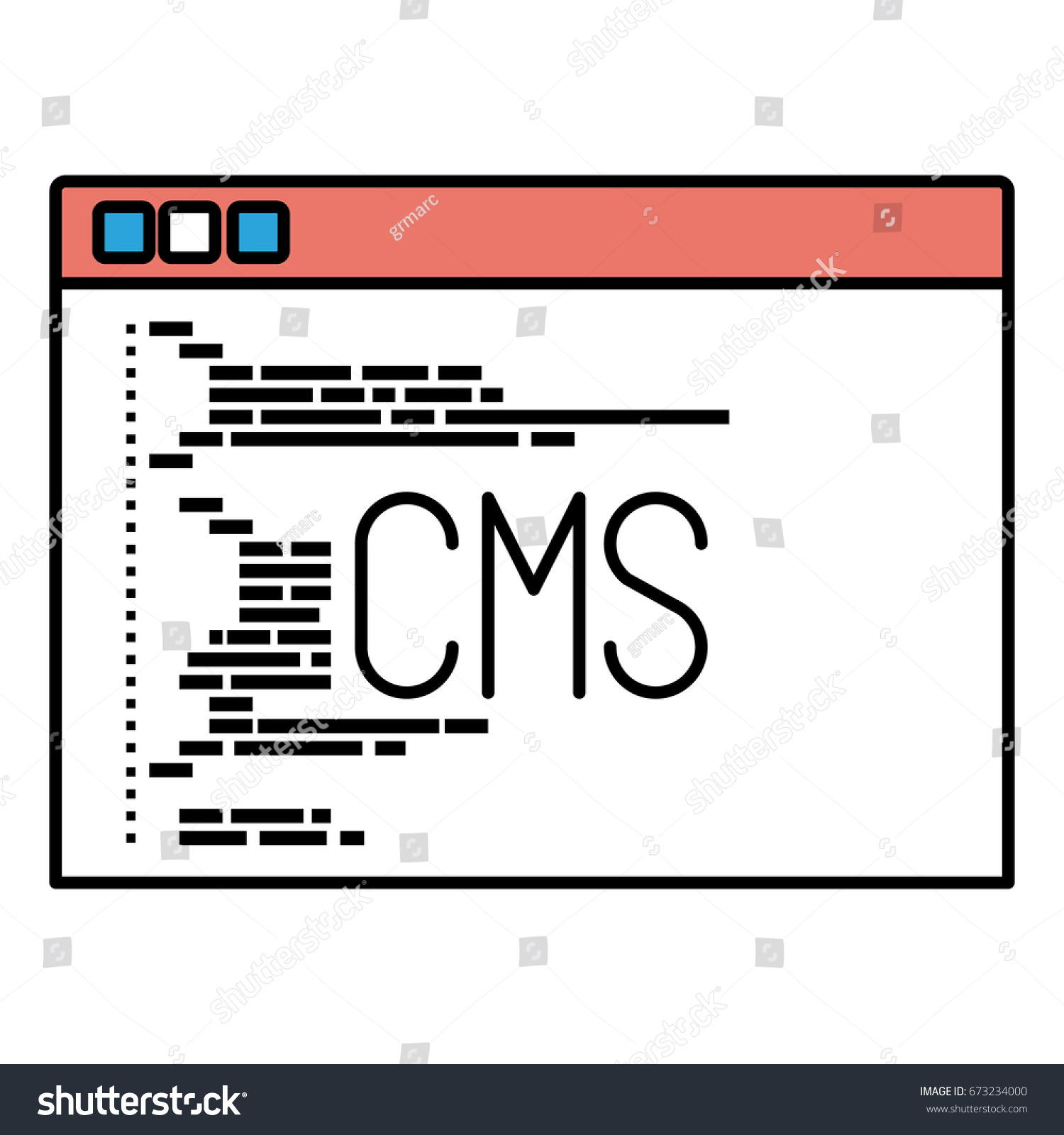Cms Script Silhouette Color Sections Programming Window Script Stock Vector