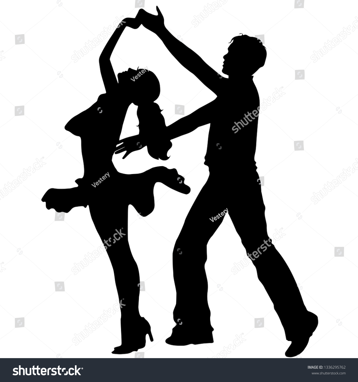 C En A Vesten Silhouette Dancing Couple Latin American Dance Stock Vector