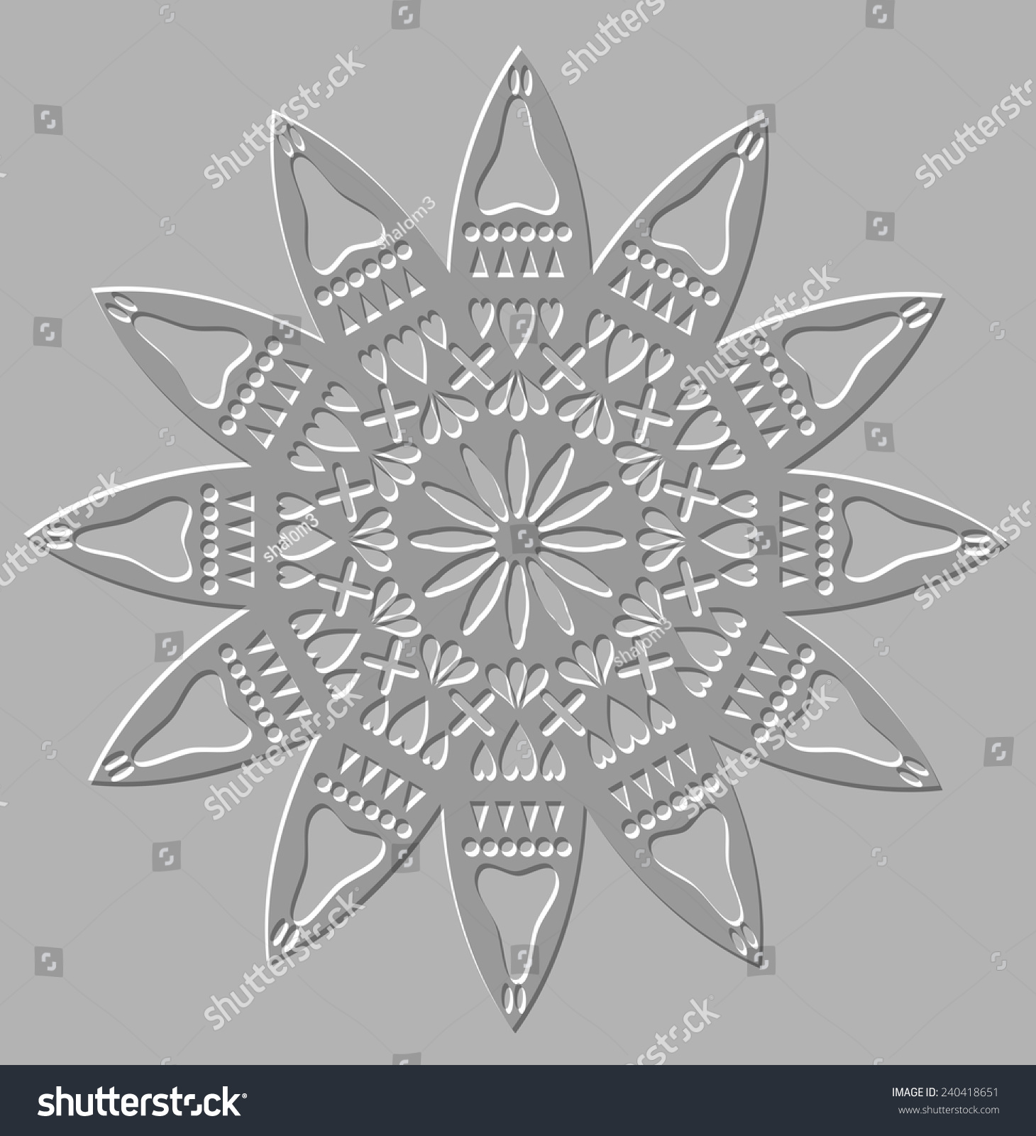 Motif Relief Silver Relief Geometric Symmetric Circle Decorative Stock Vector
