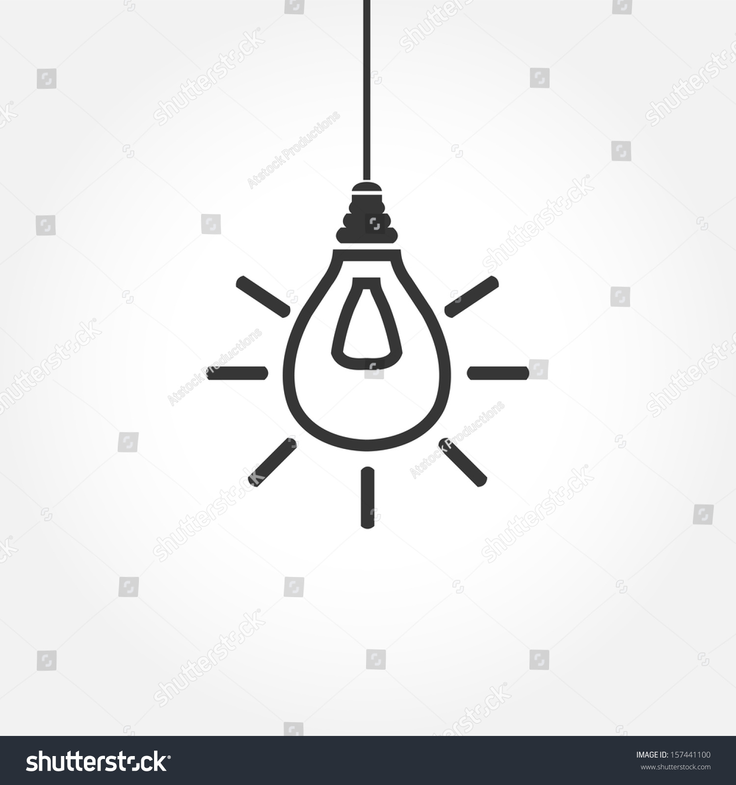 Hanging Lamp Logo Simple Hanging Light Bulb Outline Stock Vector 157441100