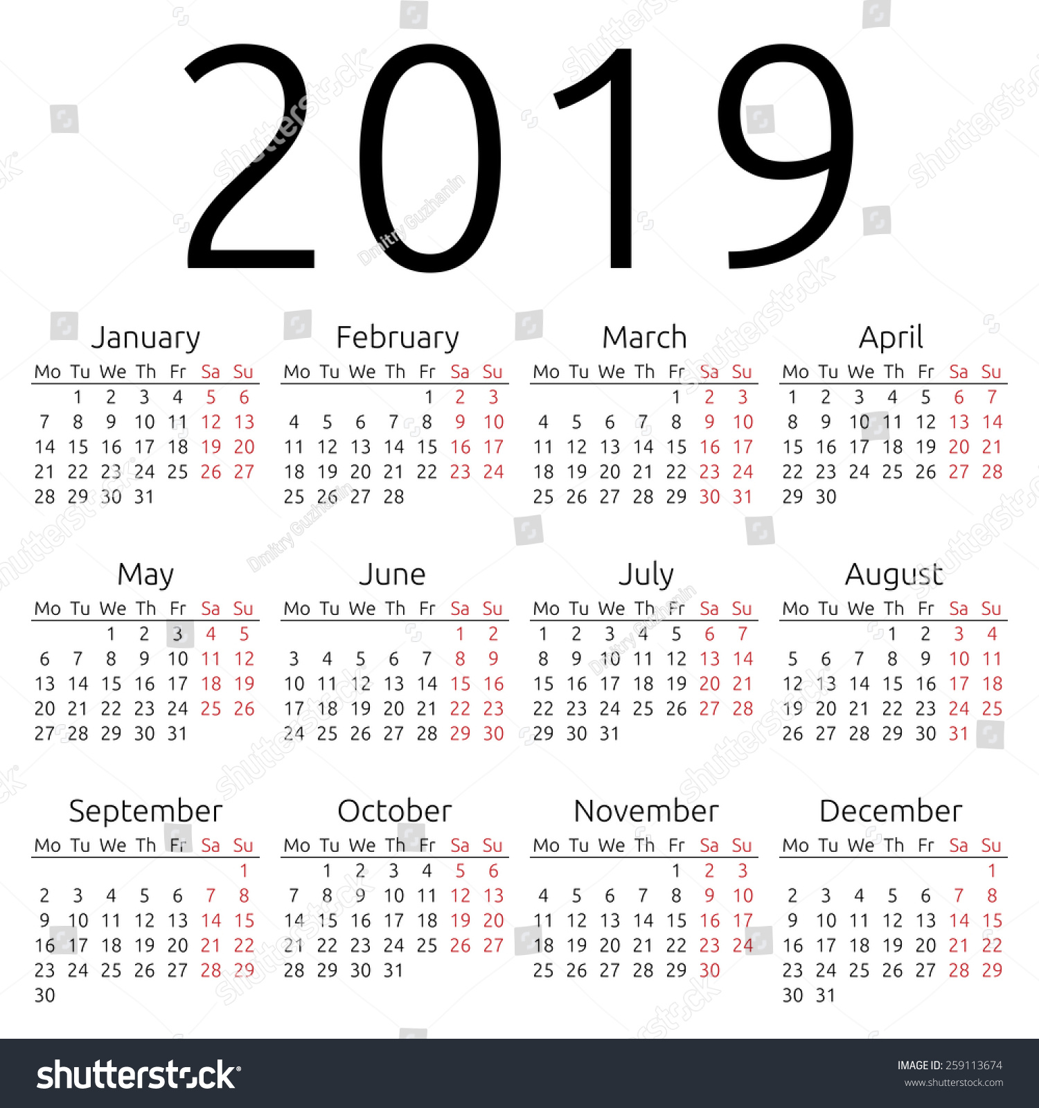 Create A Calendar That Starts On Saturday Holidays Worldwide Time And Date Simple 2019 Year Calendar Eps 8 Stock Vector 259113674